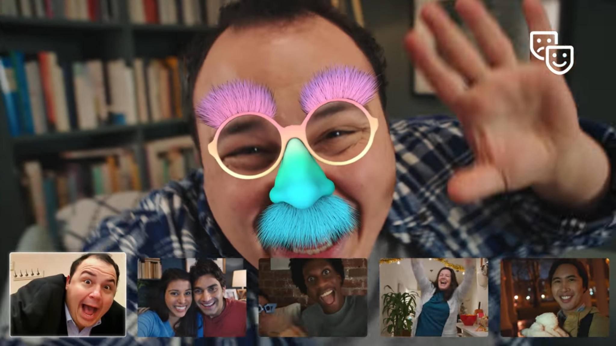 Facebook führt Videochat mit bis zu 6 Personen und Masken ein.