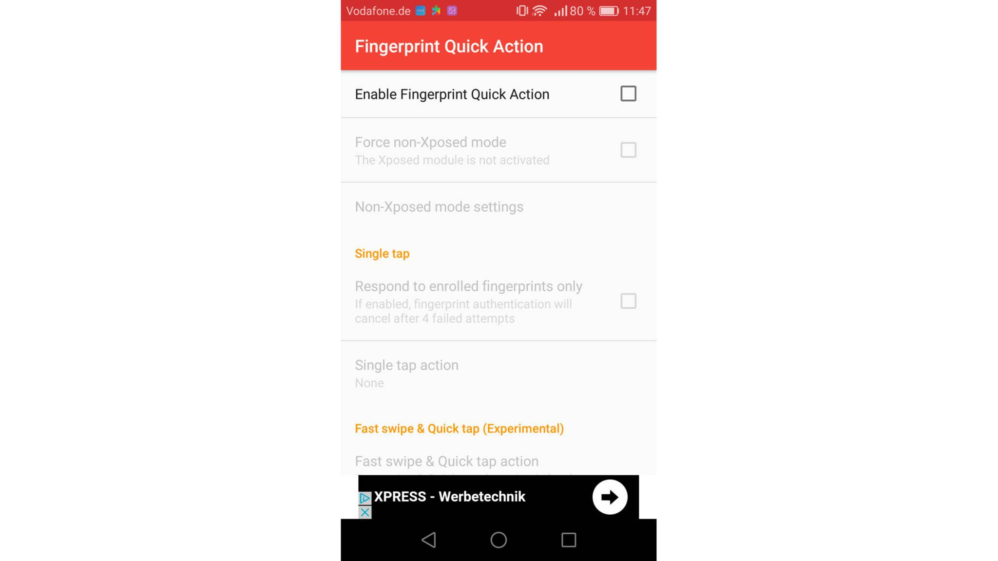 "Setze einen Haken bei ""Enable Fingerprint Quick Action""."