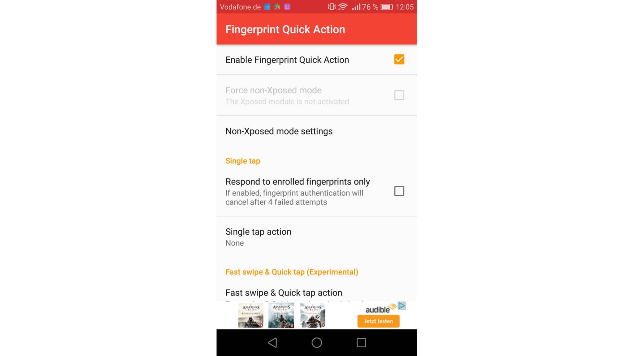 """Starte die App erneut und klicke auf """"Single tap action""""."""