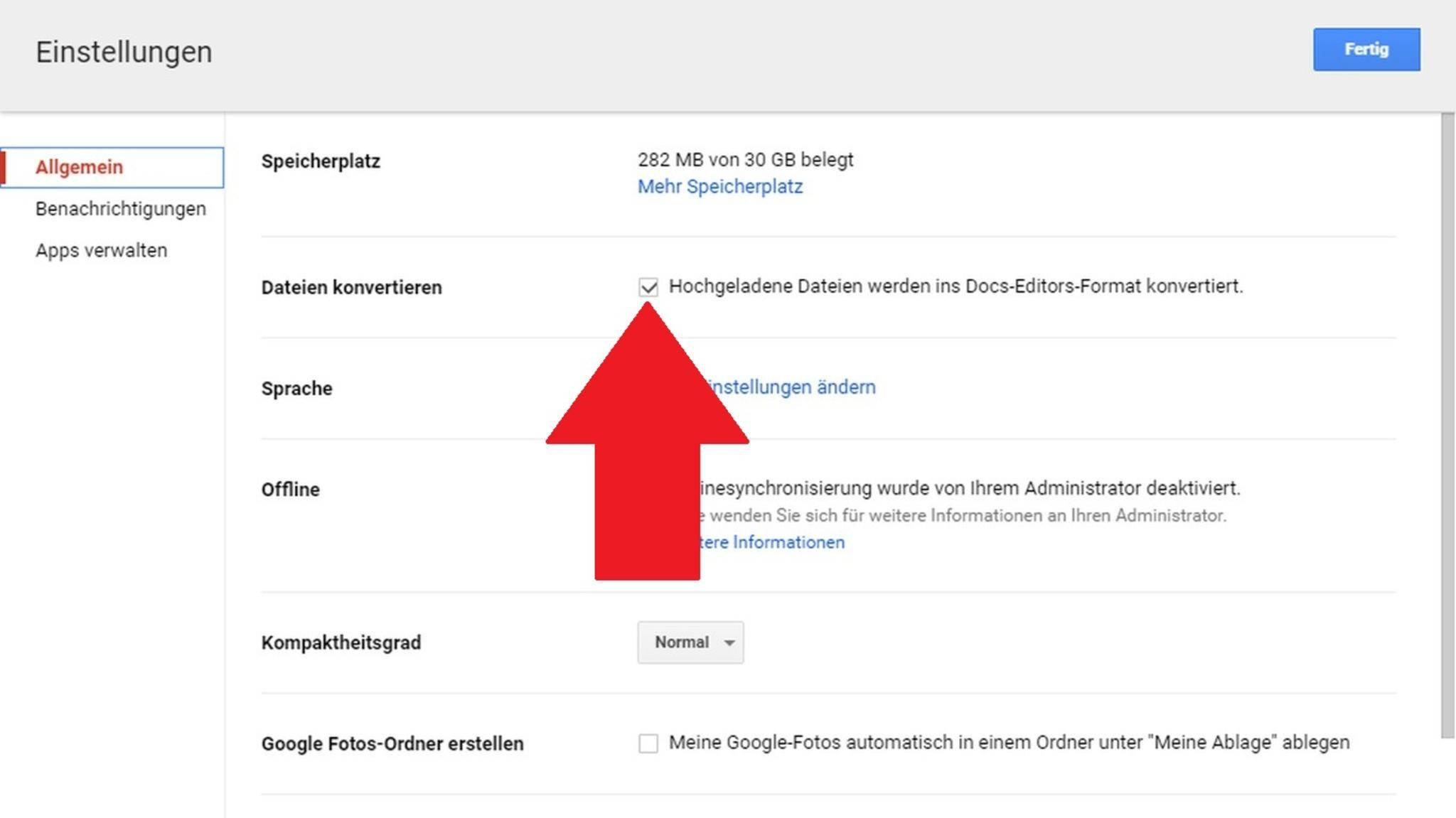 Im Docs-Editors-Format verbrauchen Dokumente keinen Speicherplatz mehr.