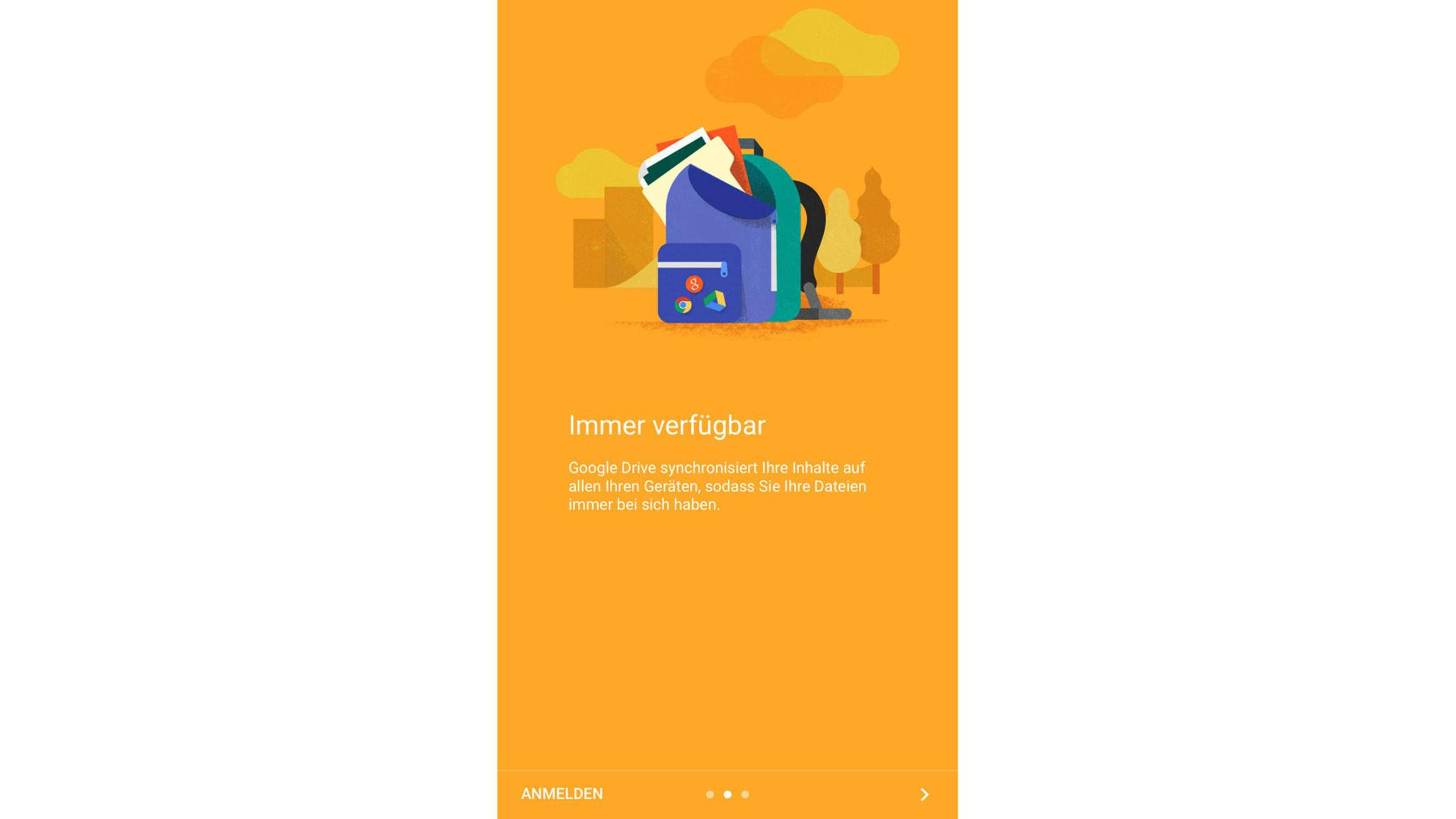 Nach dem Start der Google Drive-App musst Du Dich anmelden...