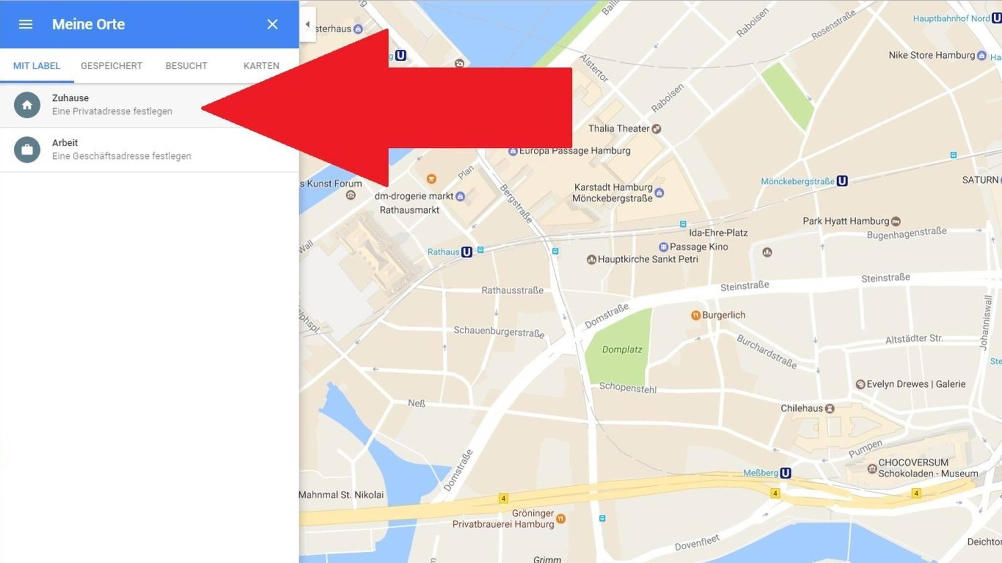 Google hat die Einstellung für die Heimadresse in Google Maps gut versteckt.
