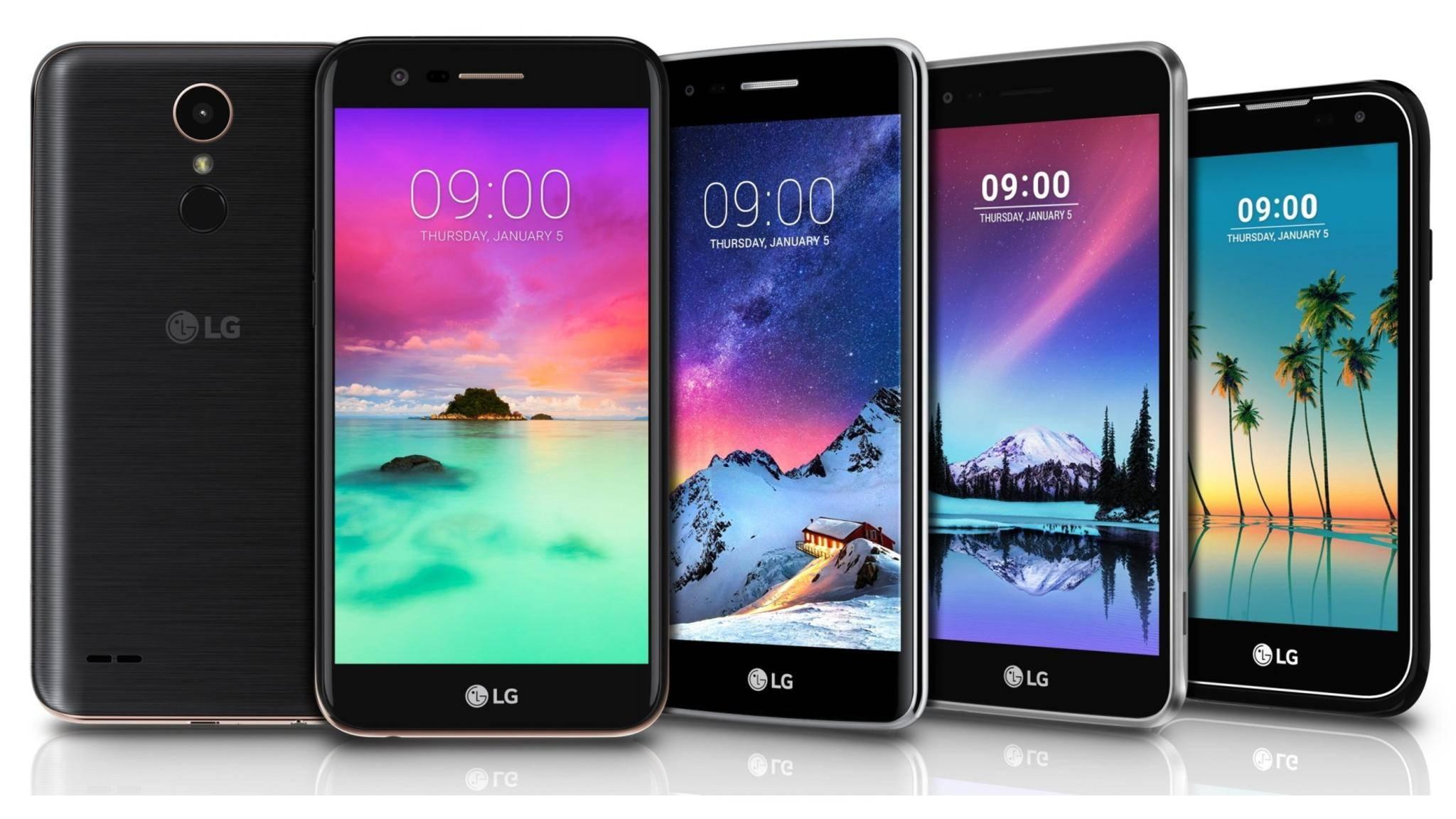 LG kündigte unter anderem die neuen K10, K8, K4 und K3 Smartphones (von links nach rechts) an.