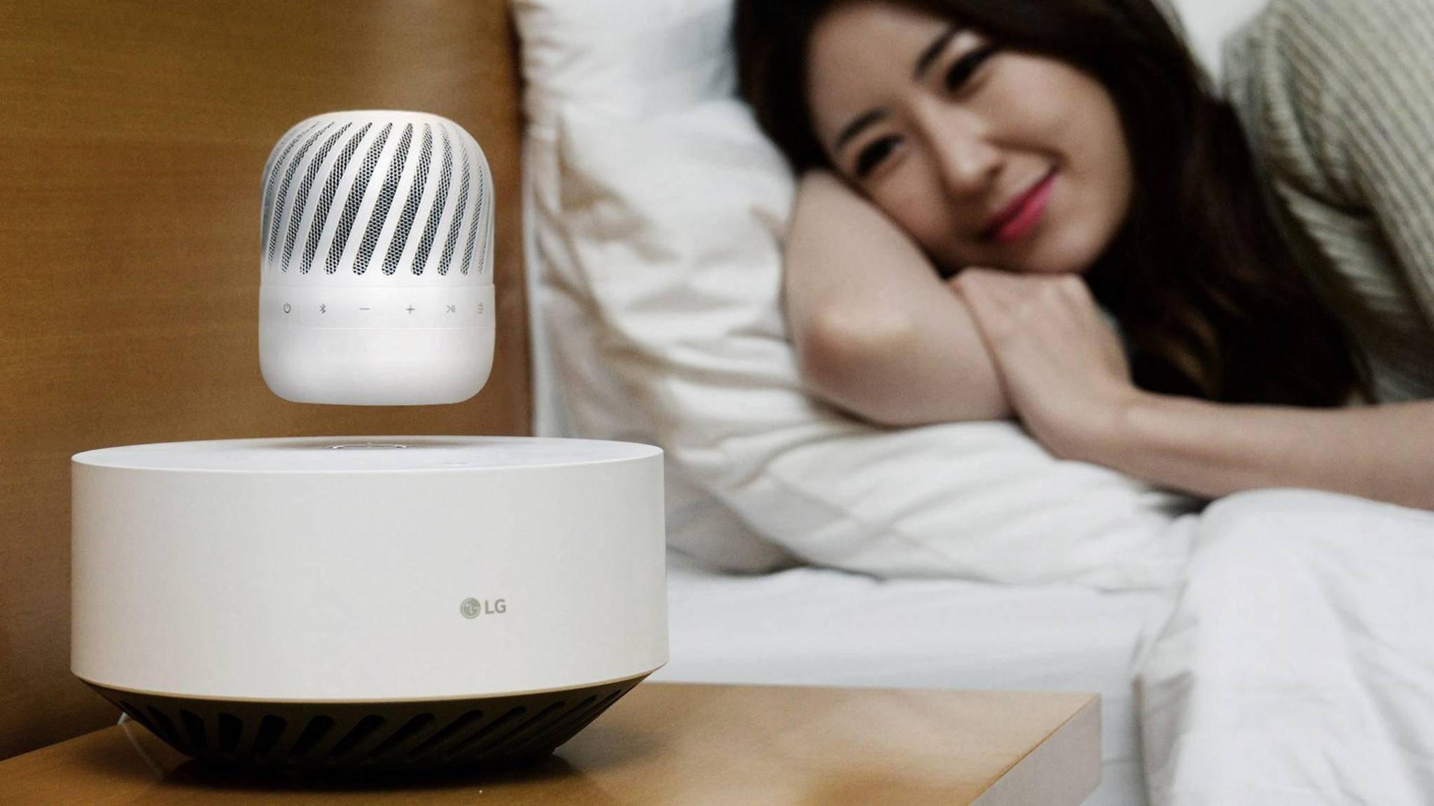 LG stellt mit dem PJ9 seinen ersten schwebenden Lautsprecher vor.