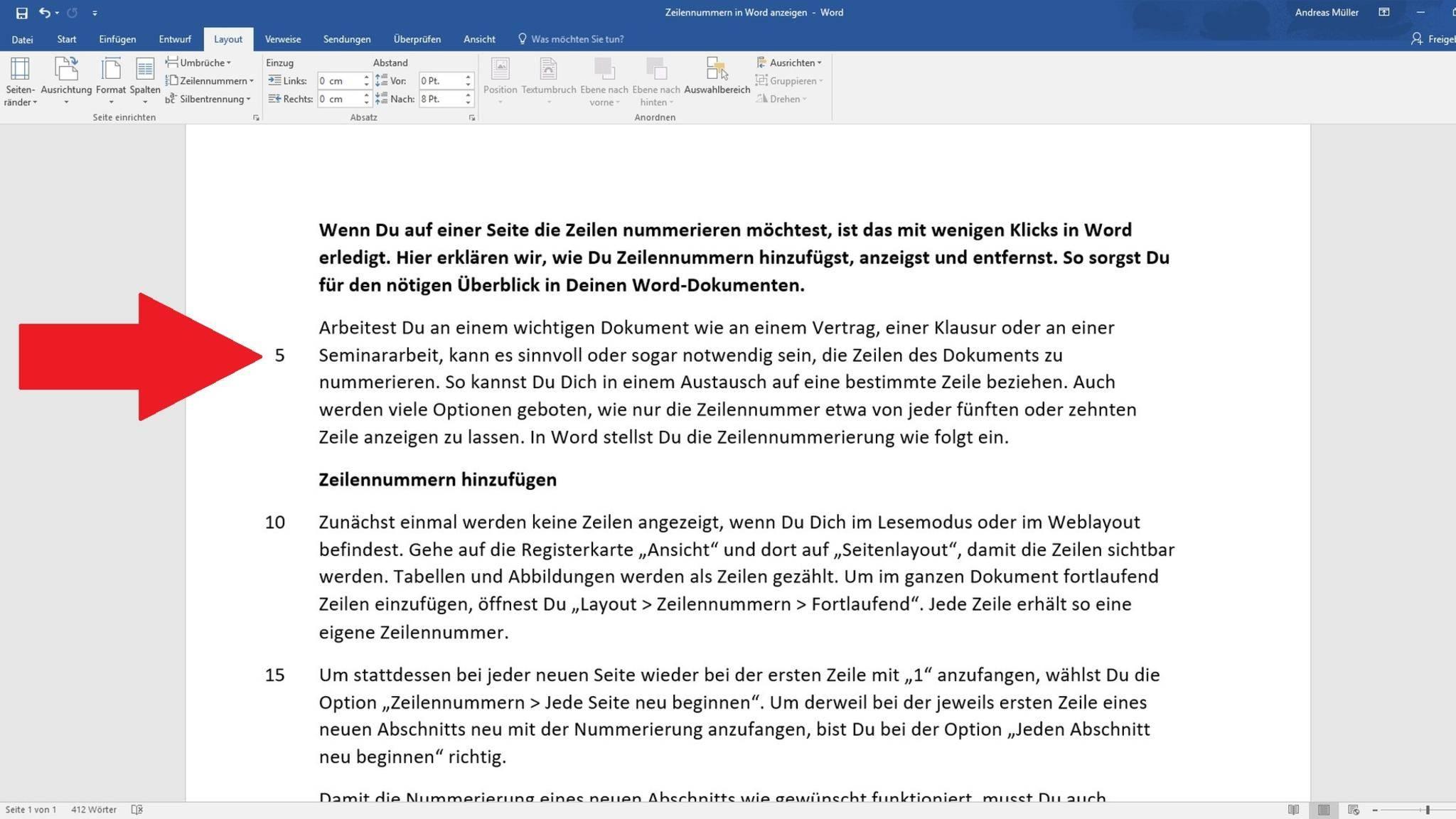 Microsoft Word Zeilennummern