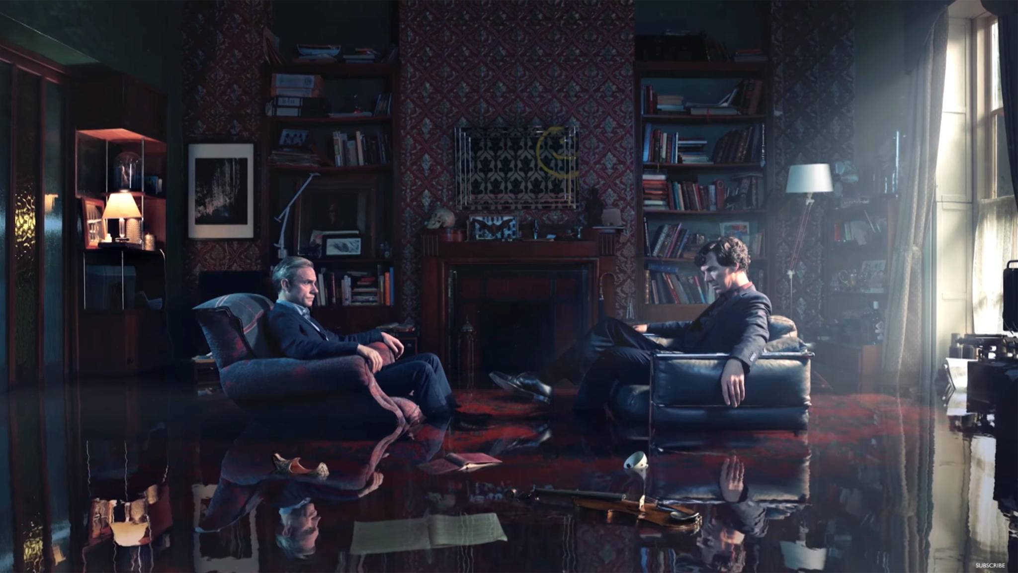 """Im neuen Teaser zur vierten """"Sherlock""""-Staffel stecken Holmes und Watson ausnahmsweise mal knietief in etwas anderem als Schwierigkeiten."""