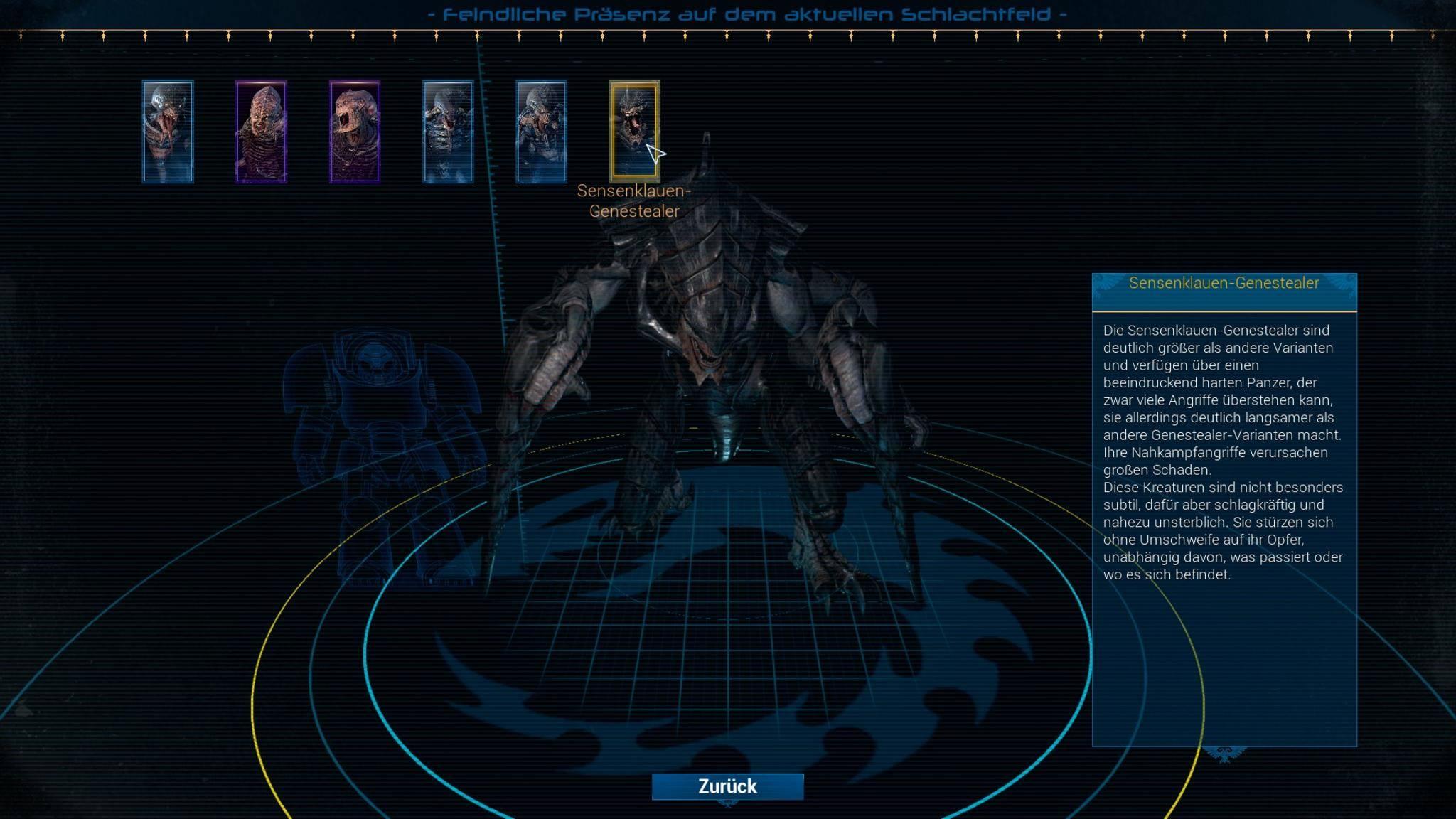 Über die taktische Karte lassen sich Infos zu den verschiedenen Tyraniden aufrufen.