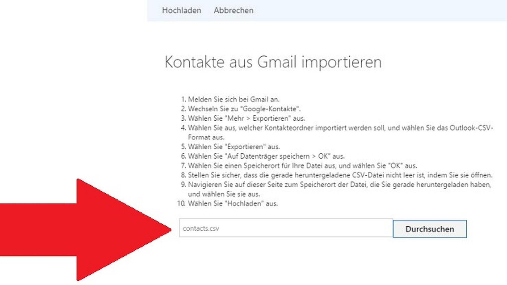 Die Verwaltung von Windows-Kontakten funktioniert über eine bestimmte Website.