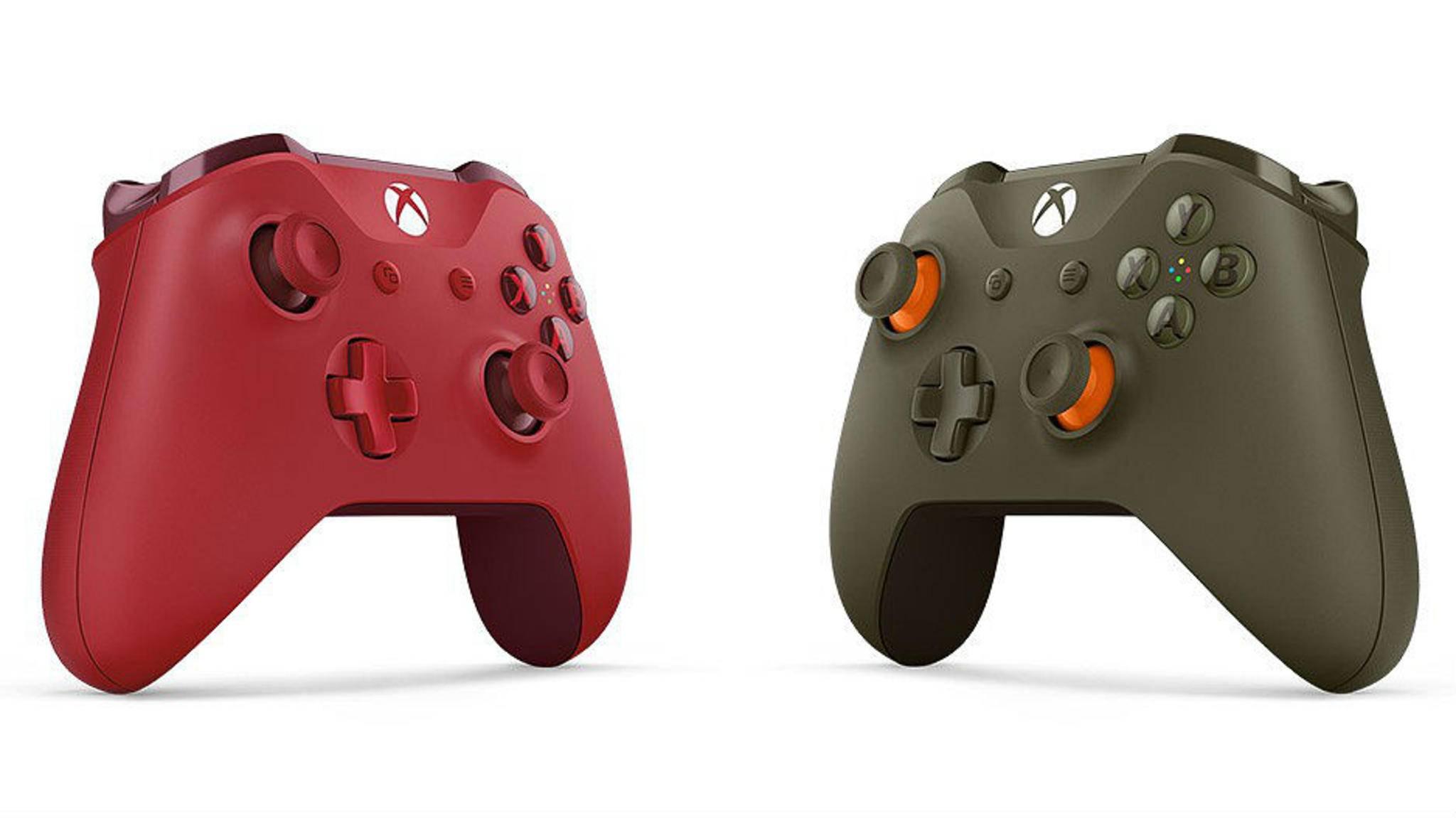 Den Xbox One-Controller gibt es jetzt auch in schickem Rot und Grün-Orange.