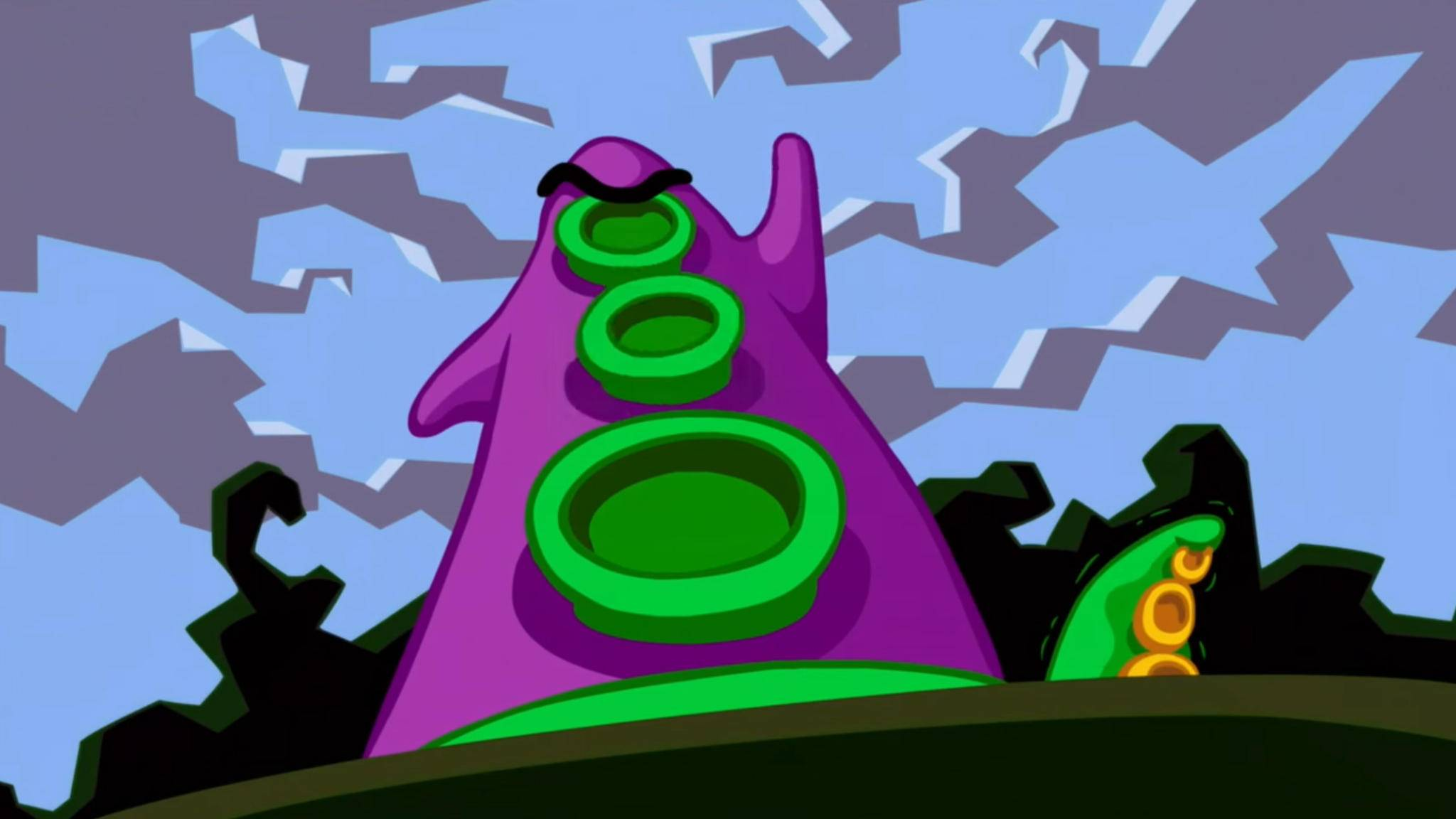 "Besiege das teuflische Purpur-Tentakel in ""Day of the Tentacle Remastered""."