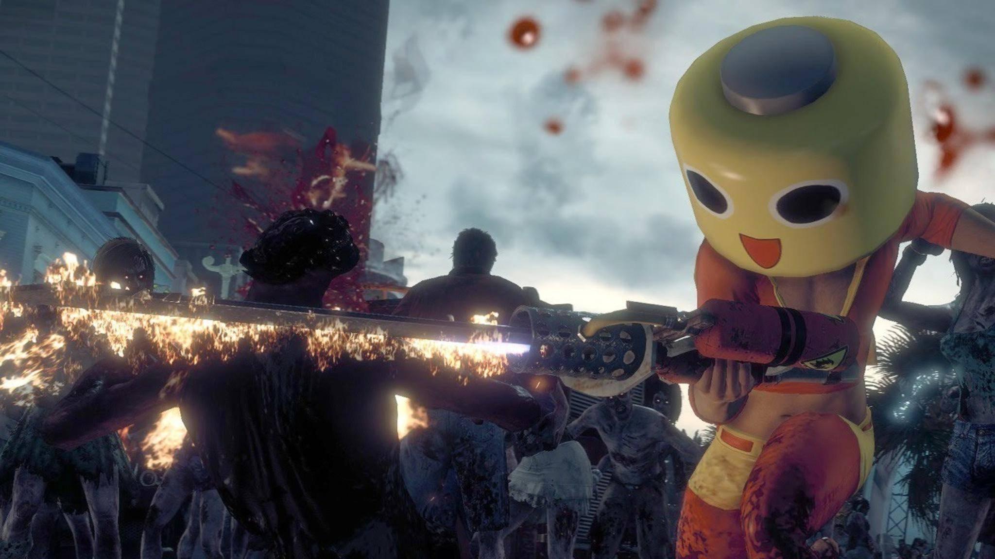 Im bescheuerten Kostüm macht Zombie-Meucheln gleich noch mehr Spaß.