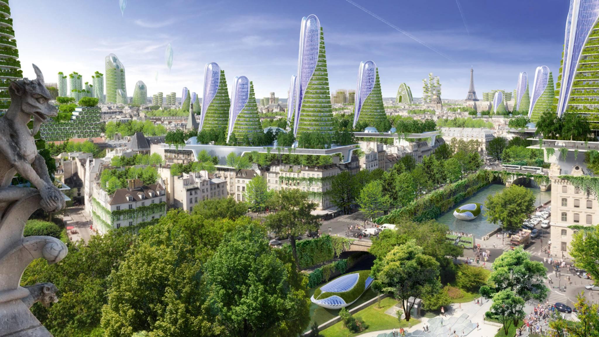 Paris, très smart: Der Entwurf einer smarten Eco-City des Architekten Vincent Callebaut will den ehrgeizigen Klimaplan für Paris umsetzen, der bis 2050 75 Prozent der Treibhausgasemissionen einsparen soll.