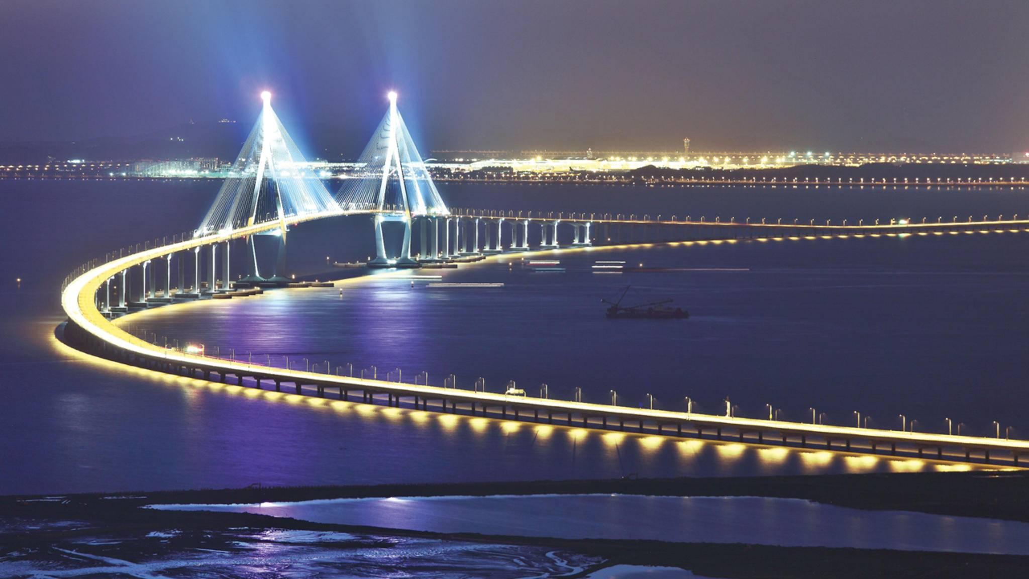 Verbindung: Incheon Bridge, die fünftgrösste Brücke der Welt, verbindet Songdo mit dem Flughafen Incheon.