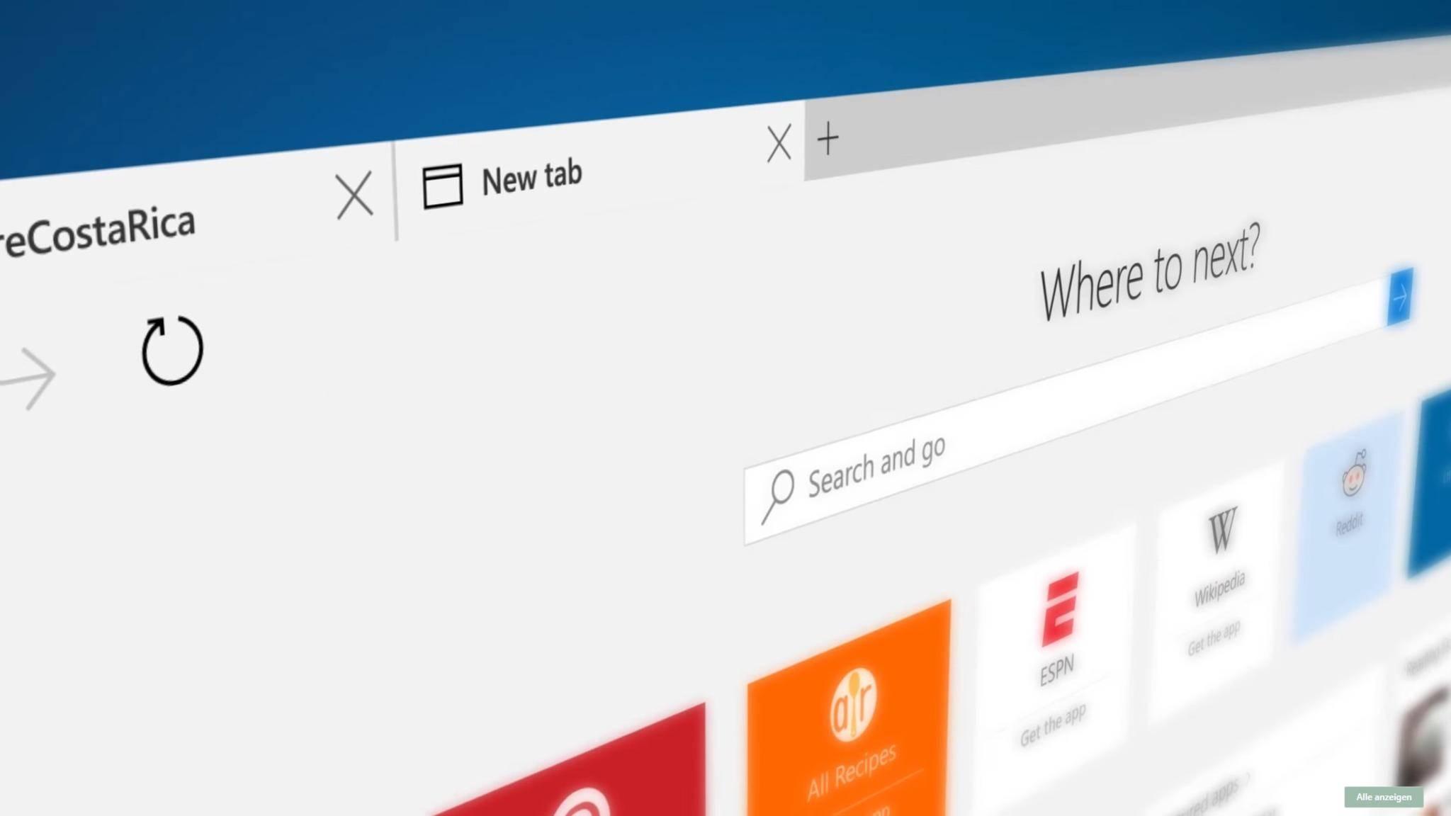 Angeblich erhält der Edge-Browser bald einen Full-Screen-Modus.