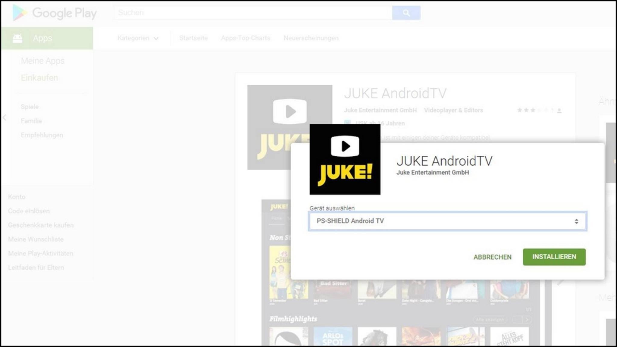 Selbst Apps für Android TV lassen sich so instalieren.
