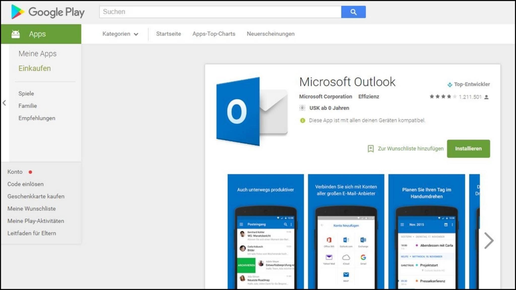 Android-Apps lassen sich über den Play Store auch vom PC aus installieren.