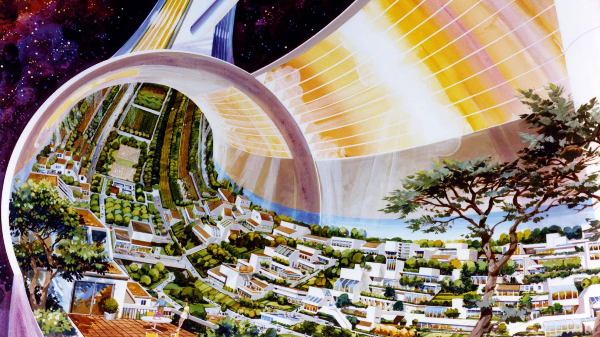 Weltraumschlauch: Die hypothetische Weltraumkolonie Stanford-Torus soll mittels künstlicher Schwerkraft einen erdähnlichen Lebensraum in Form eines schmalen Tals erhalten.
