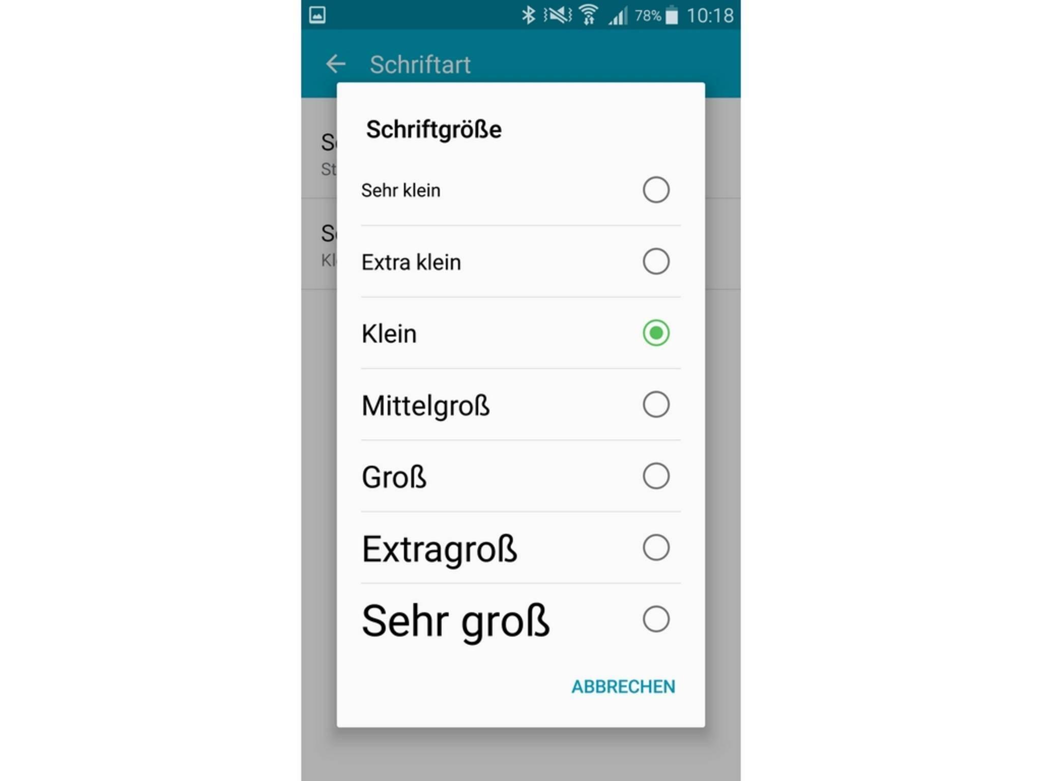 Samsung bietet Optionen zum Ändern von Schriftgröße...