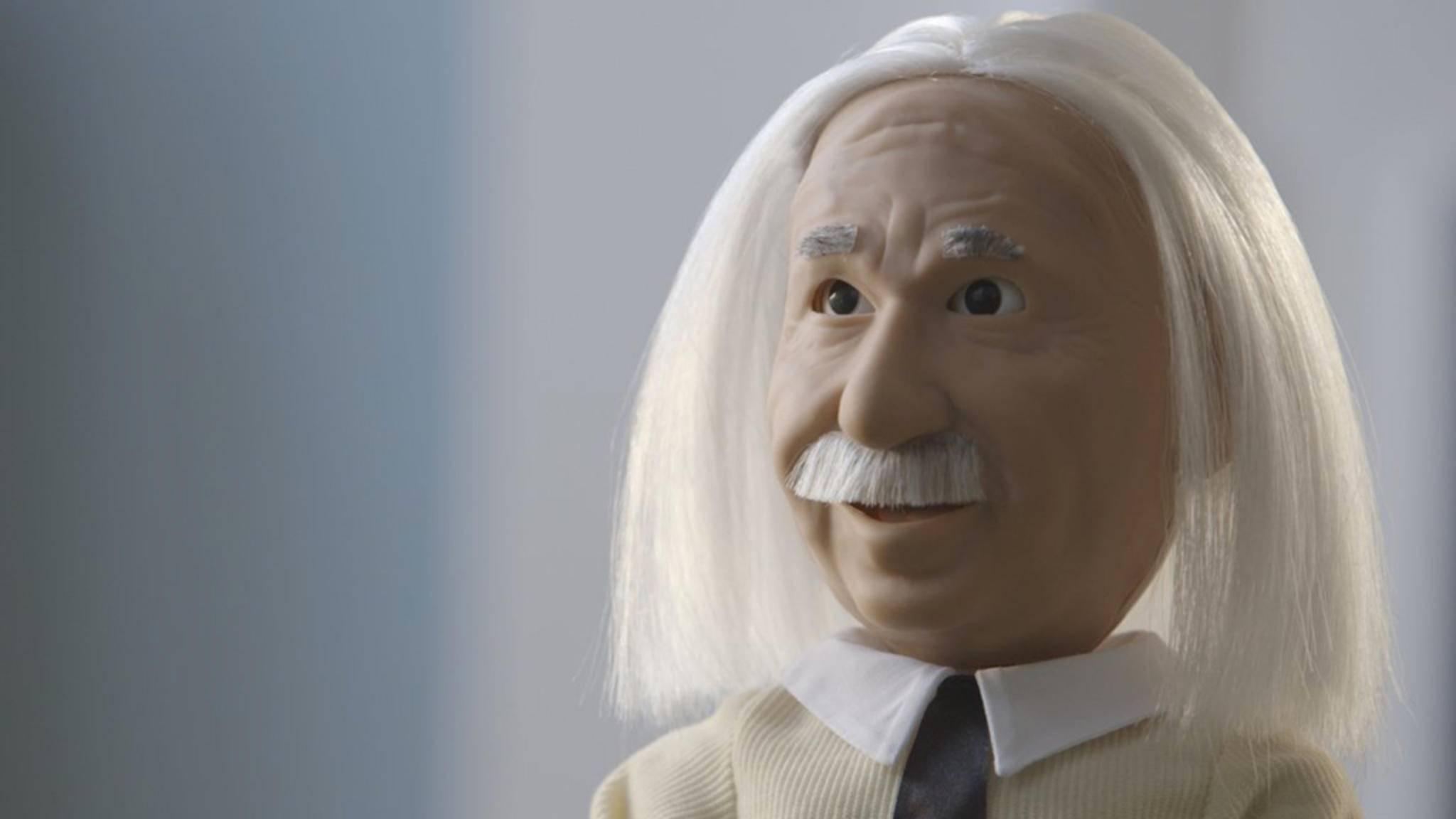 Der Lernroboter Professor Einstein eifert seinem Vorbild nach.