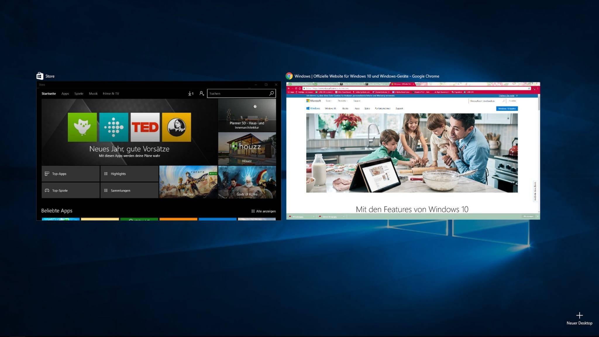 "Via ""Windows-Botton + Tab"" öffnest Du die aktiven Desktops."