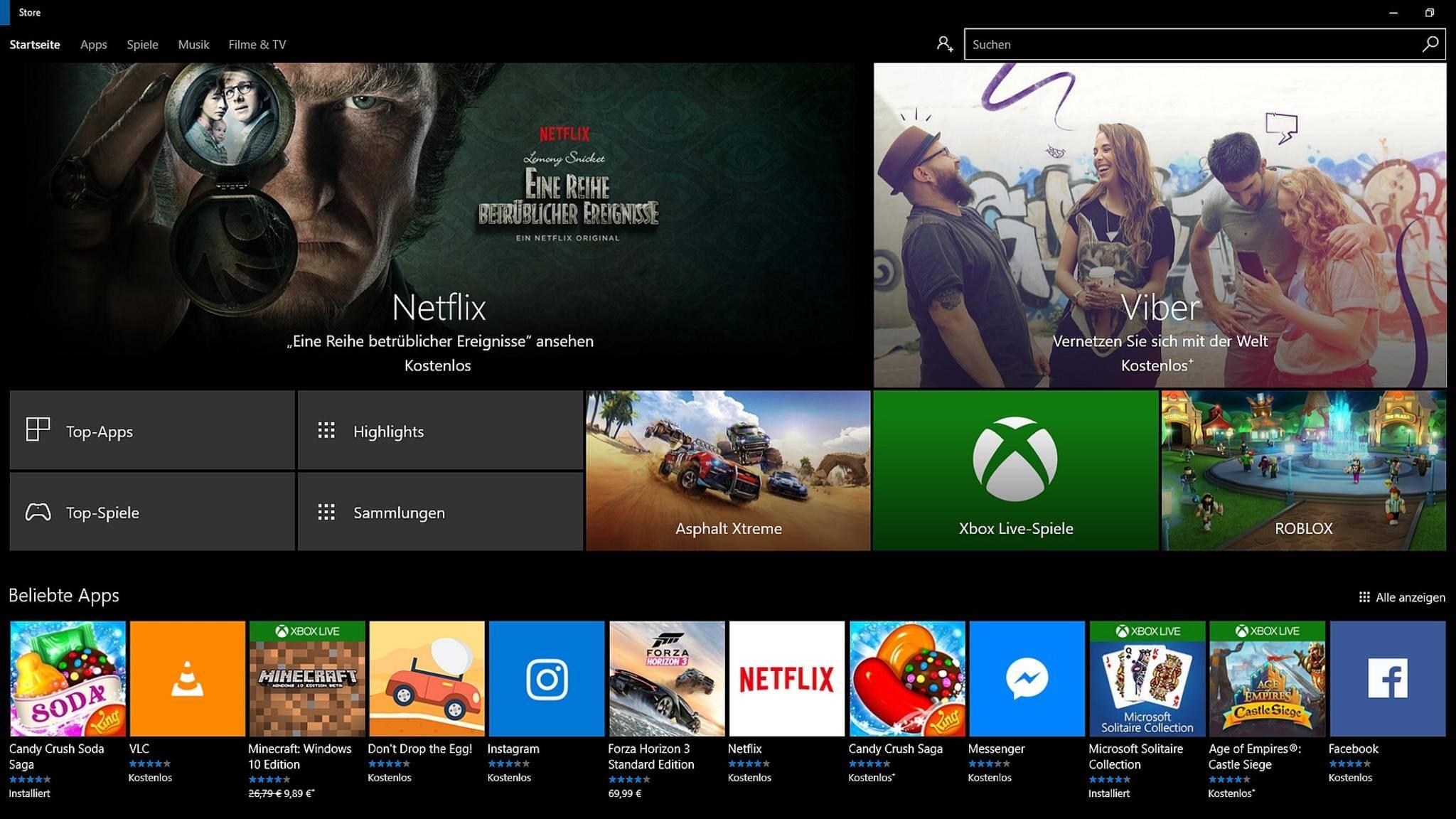 Neuerdings kann man im Windows Store auch ohne Anmeldung Apps herunterladen.