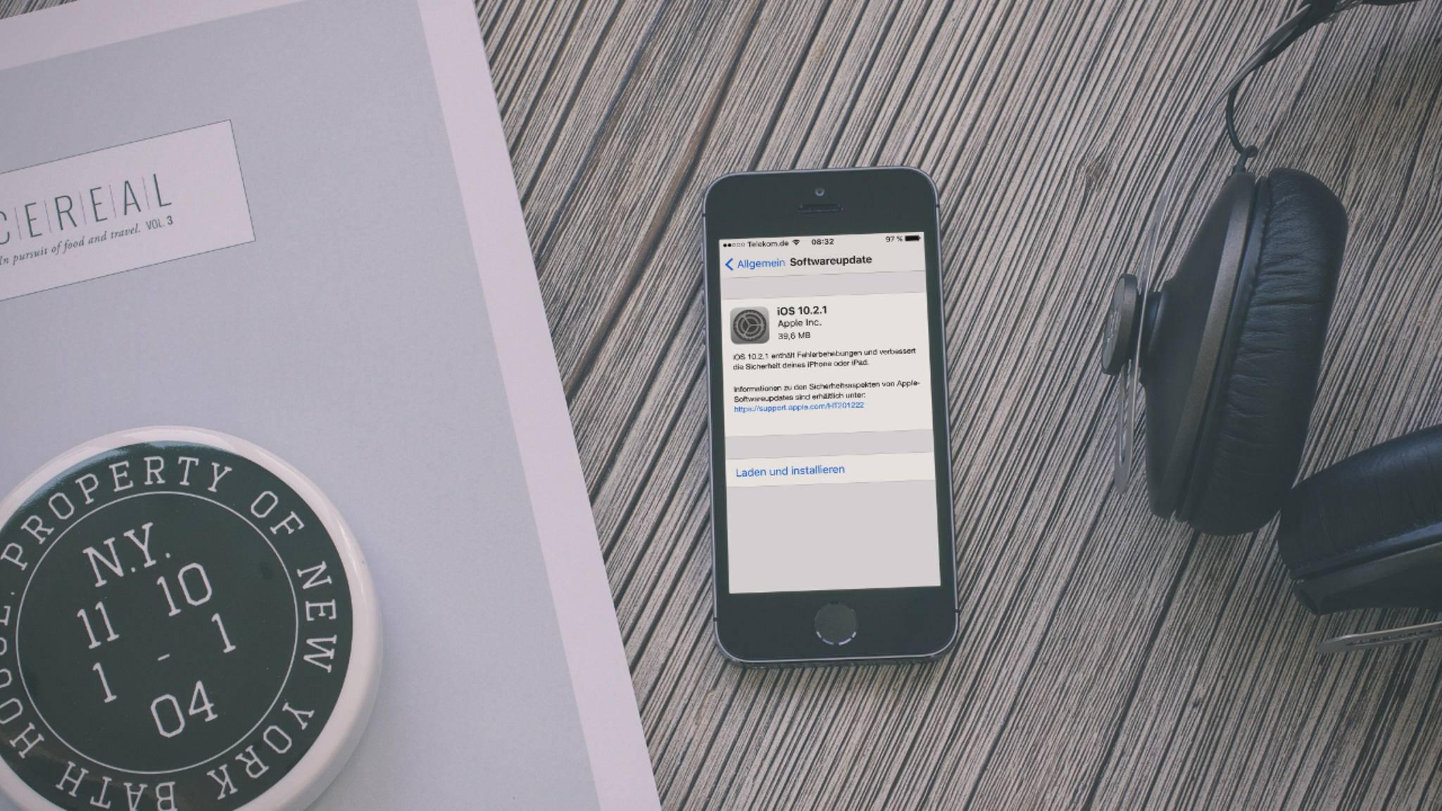 iOS 10.2.1 steht ab sofort zum Download zur Verfügung.