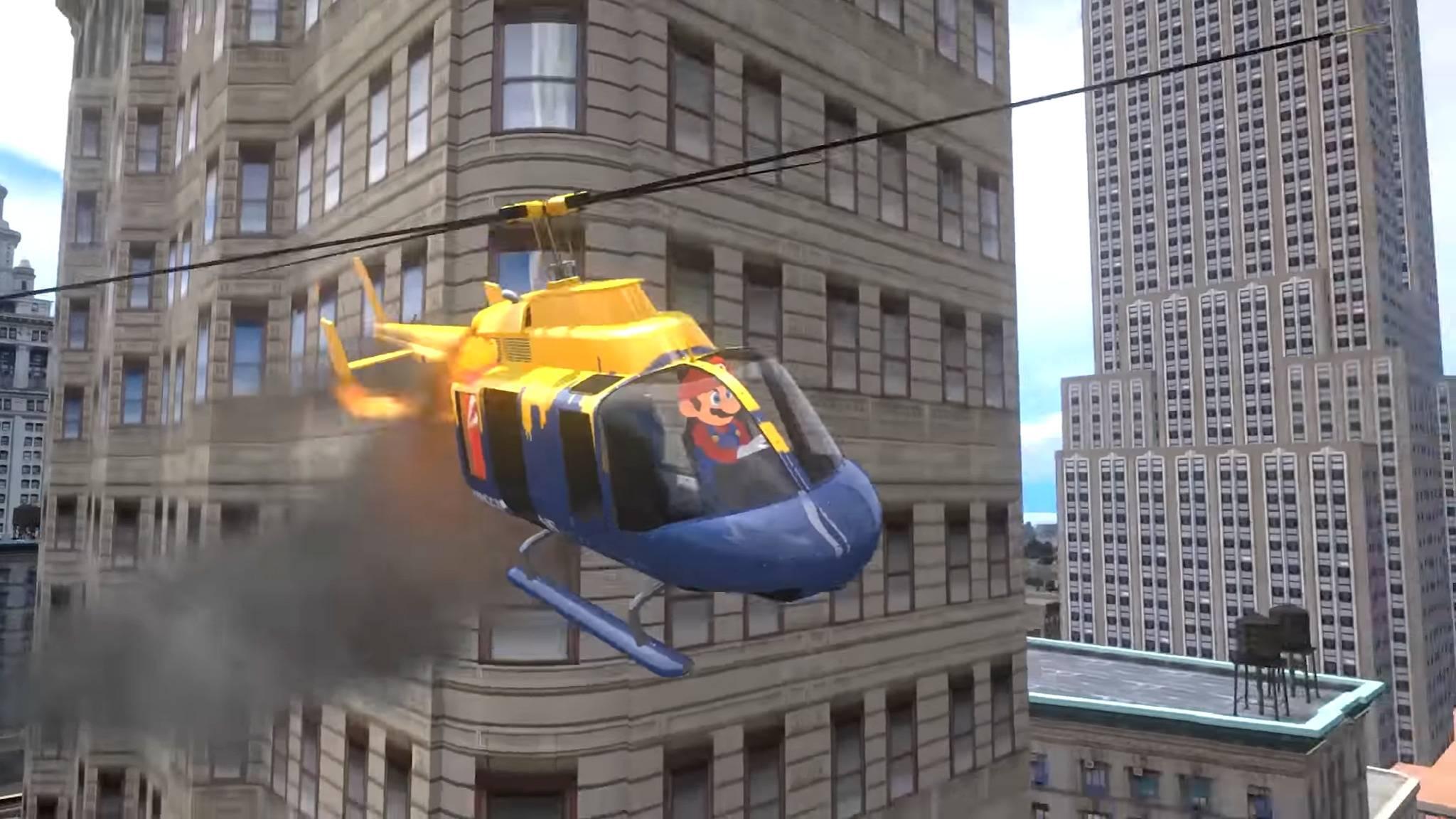 Mario kann offenbar sogar einen Helikopter fliegen.