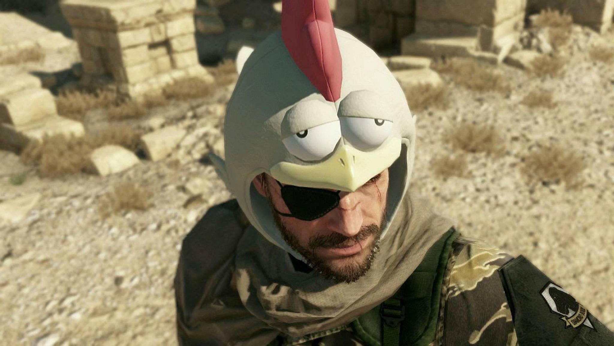 """Der Chicken Hat hilft den ungeübten Spielern bei """"Metal Gear Solid 5"""". Äußerst ruhmhaft ist er aber nicht."""