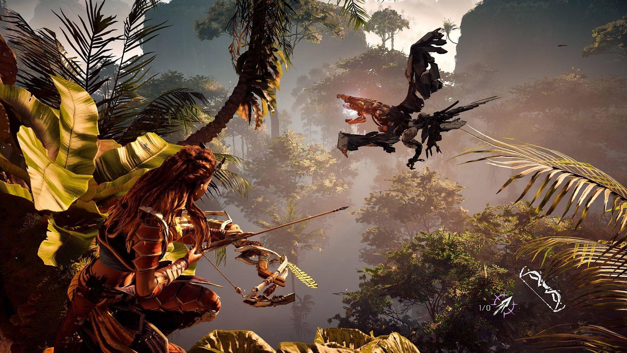 """Ein Spiel wie """"Horizon Zero Dawn"""" profitiert besonders vom größeren Kontrastumfang, den HDR bietet."""