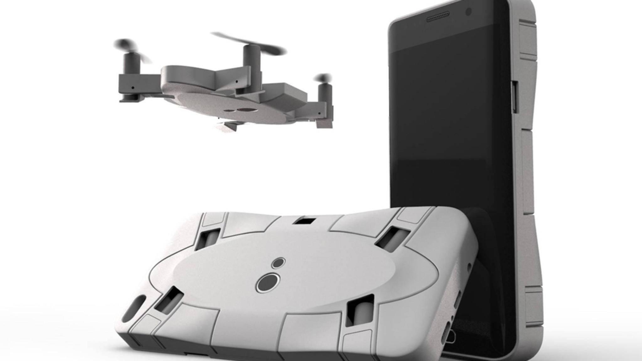 Clever: Wenn sie nicht fliegt, lässt sich die Selfie-Drohne Selfly auf einer Smartphone-Hülle befestigen.