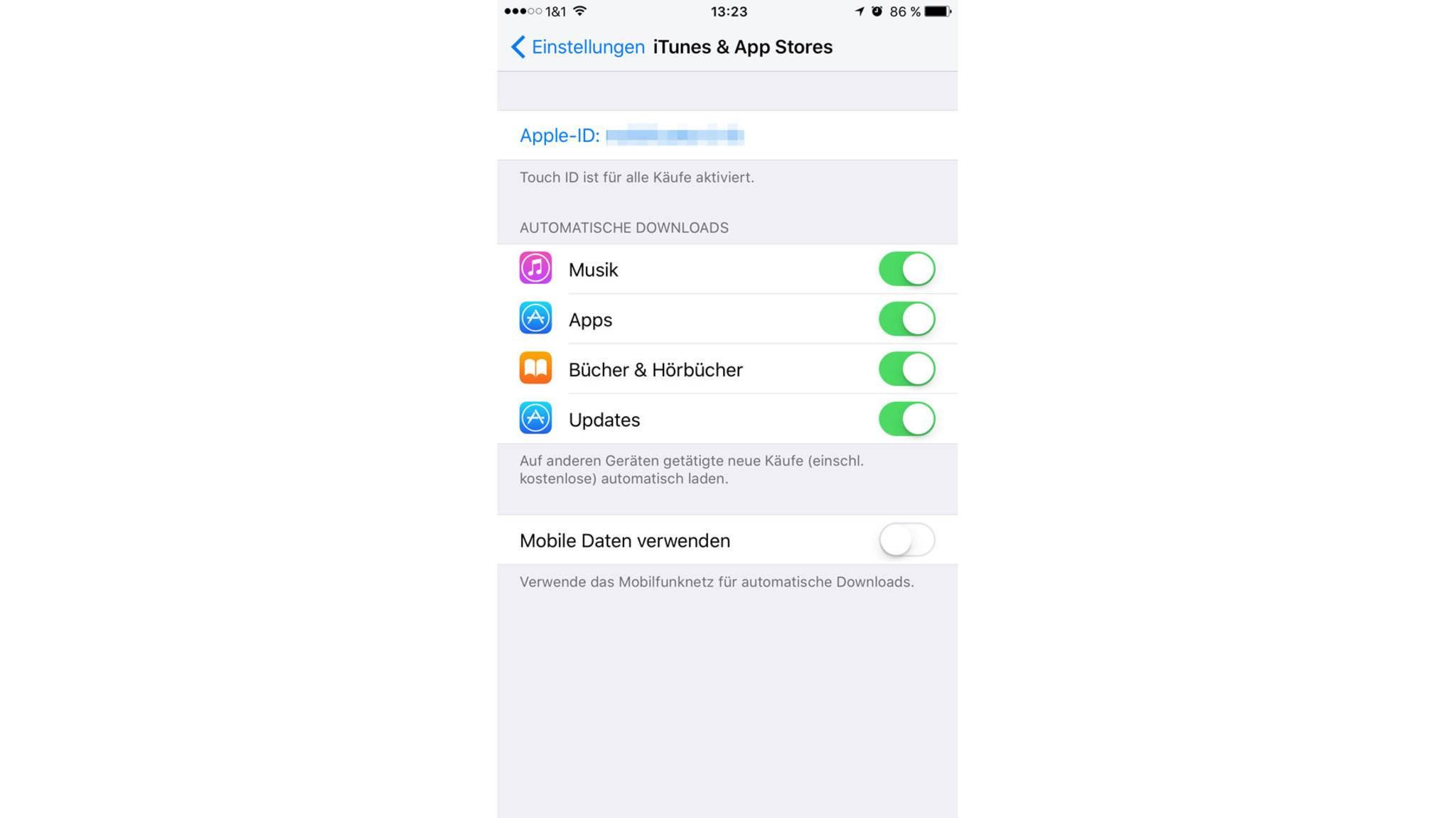 Automatische Updates sollten aktiviert werden, mobile Daten lieber nicht.