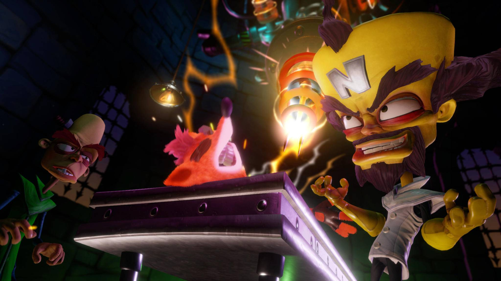 Dr. Neo Cortex (r.) ist nur einer von vielen Bossgegner, die Crash Bandicoot ans Leder wollen.