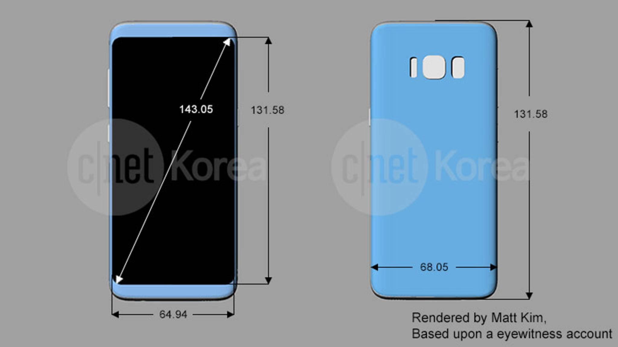 Dieses Schaubild soll die genauen Abmessungen des Galaxy S8 zeigen.