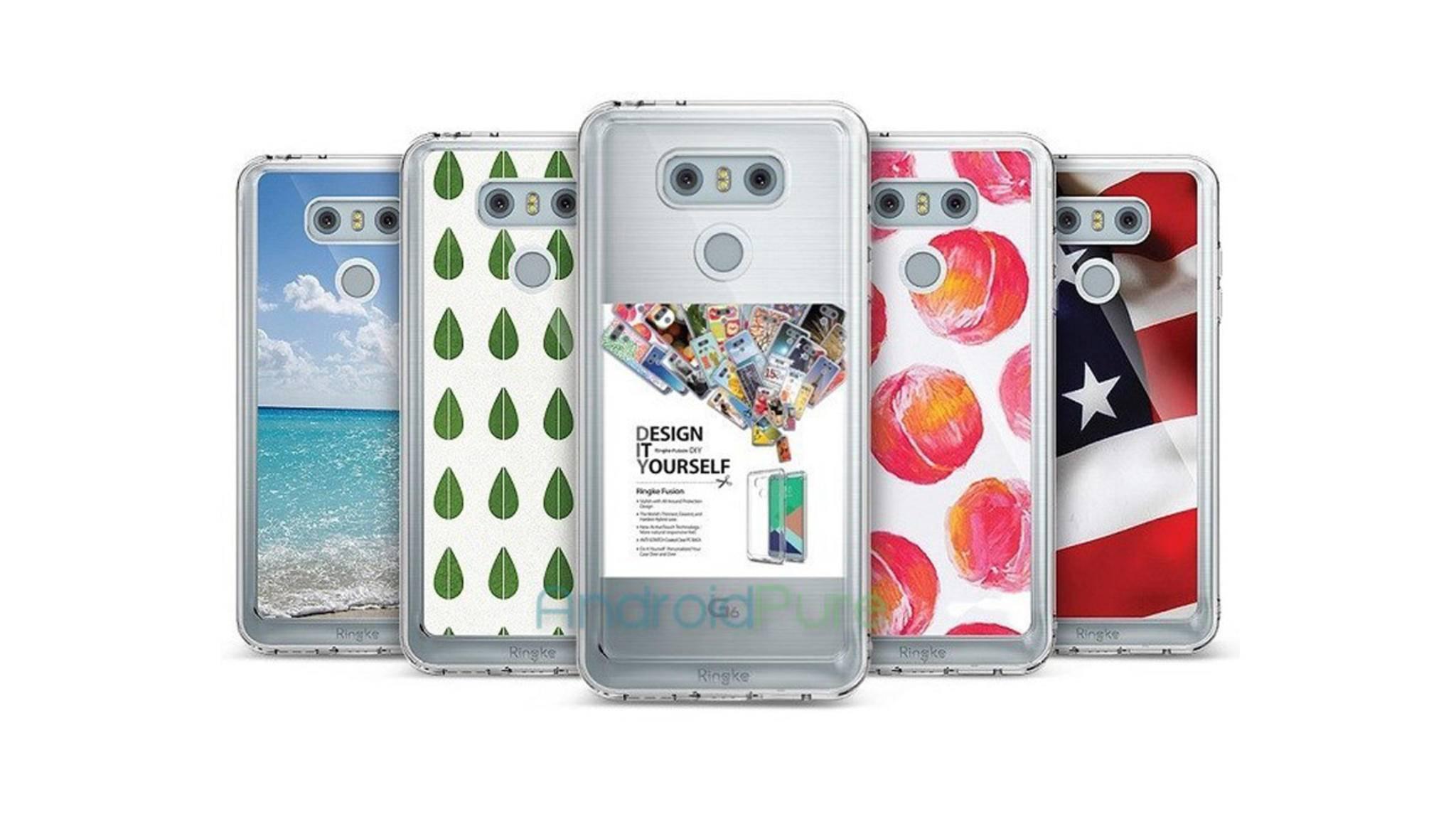 Ein Case-Hersteller zeigt das LG G6 vorab seiner Enthüllung auf dem MWC 2017.