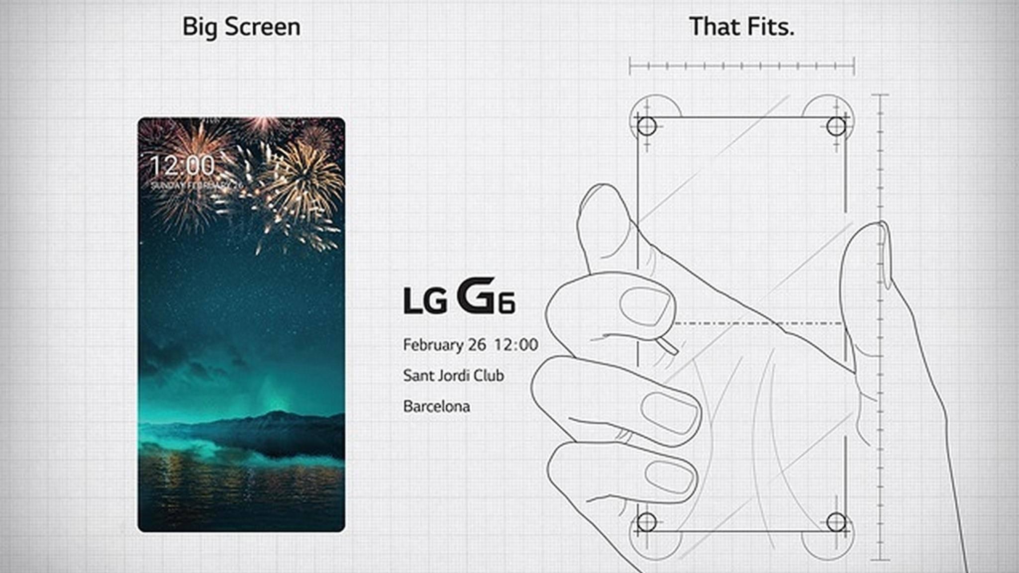 Die neue Einladung deutet ein randloses Display für das LG G6 an.