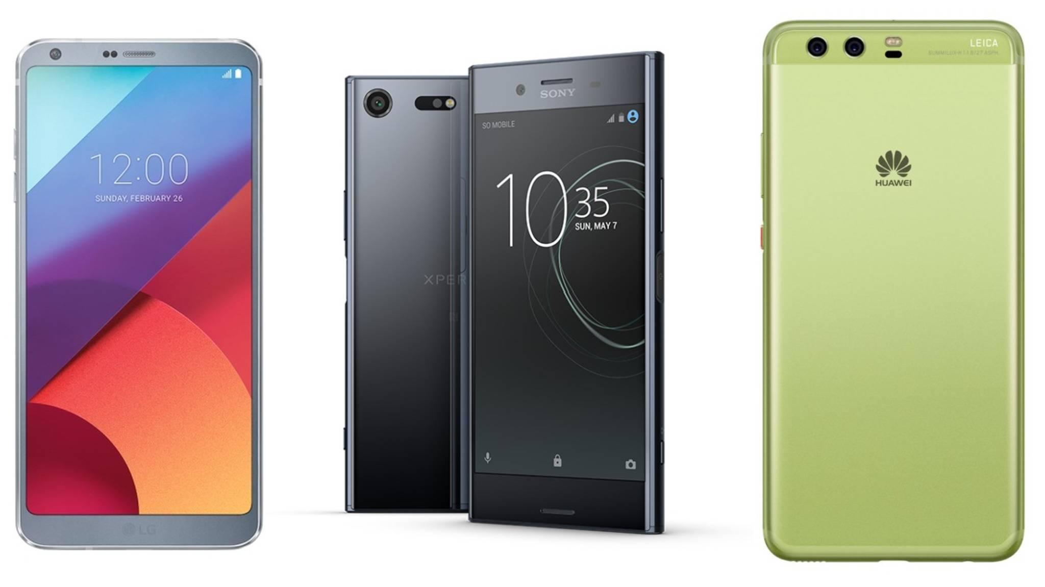 Wie schlagen sich die Highlights des MWC 2017, das LG G6, Xperia XZ Premium und Huawei P10 im Vergleich?