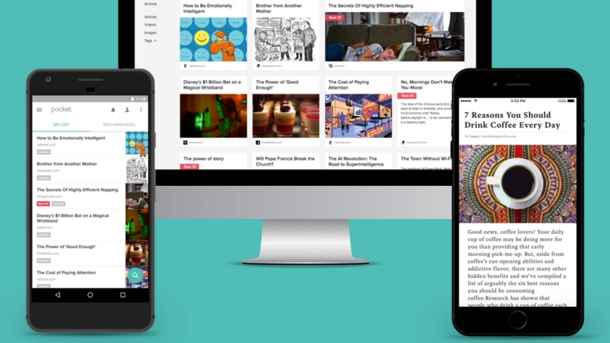 Pocket speichert Webseiten für die Offline-Nutzung.