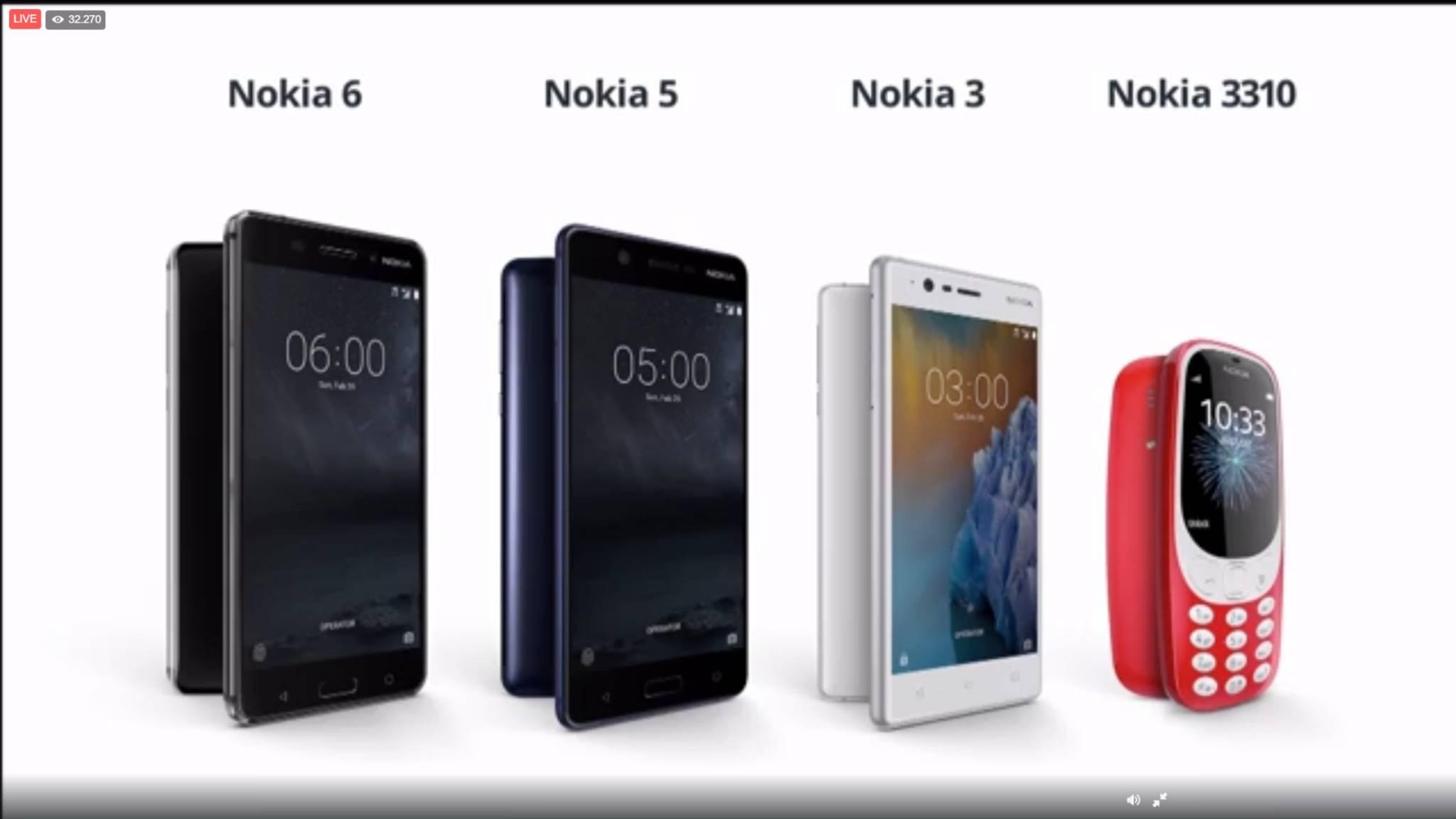 Das sind sie: Die neuen Nokia-Smartphones und die Neuauflage des Nokia 3310.