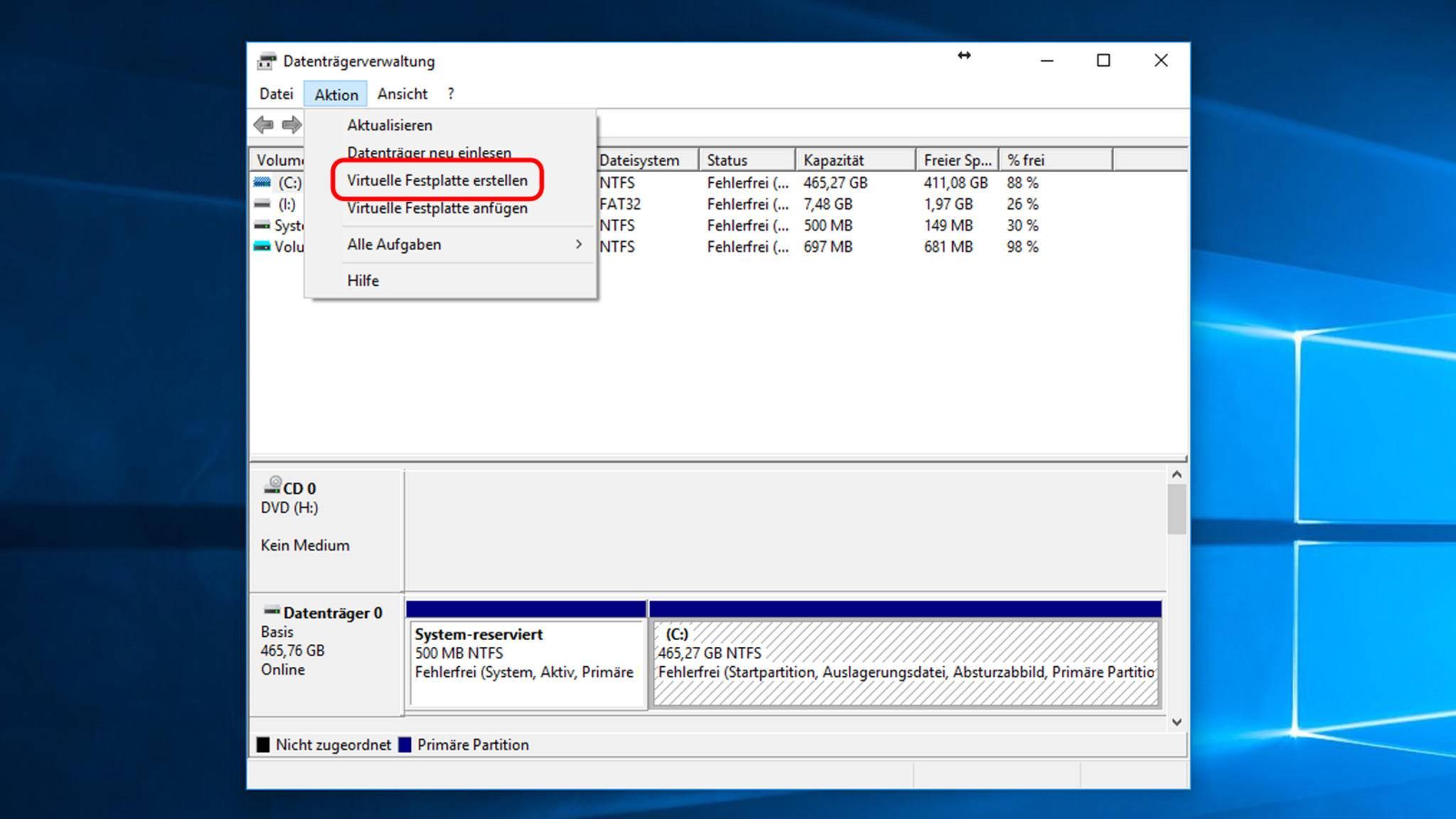 """In der Datenträgerverwaltung klickst Du auf """"Aktion > Virtuelle Festplatte erstellen"""" und musst dann ..."""