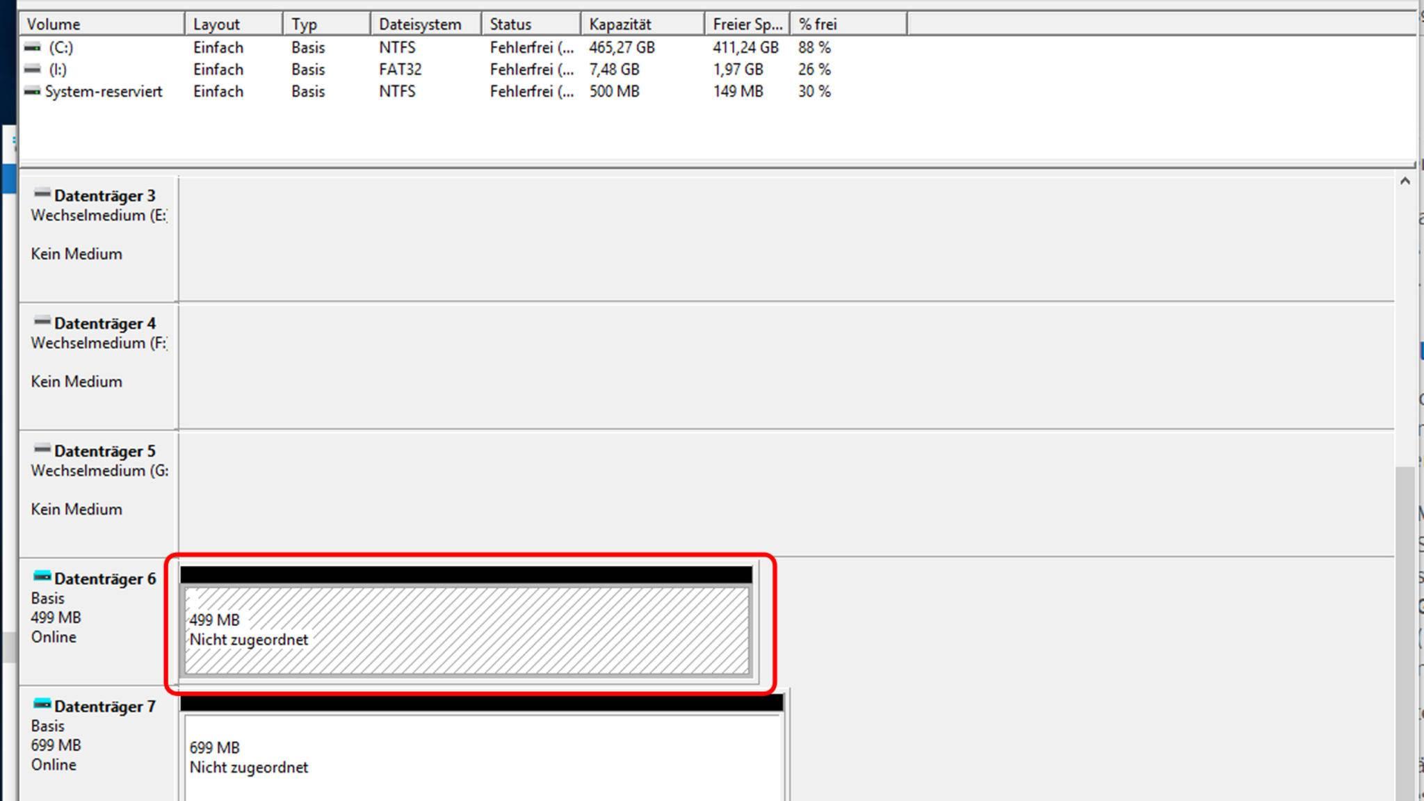 Danach klickt man wieder mit rechts auf den Datenträger, ...