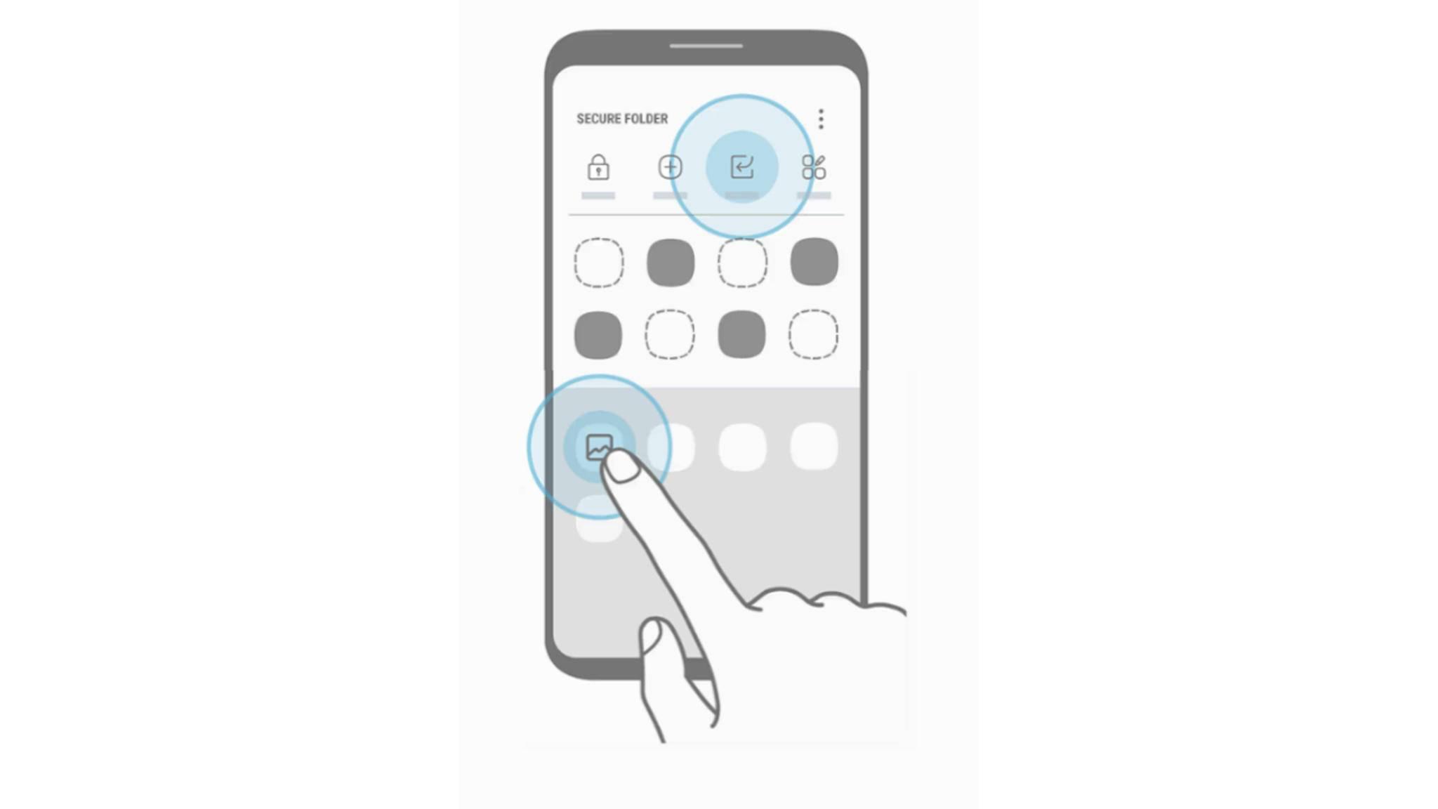 Diese Darstellung in der App Secure Folder sieht doch verdächtig nach dem Galaxy S8 aus!