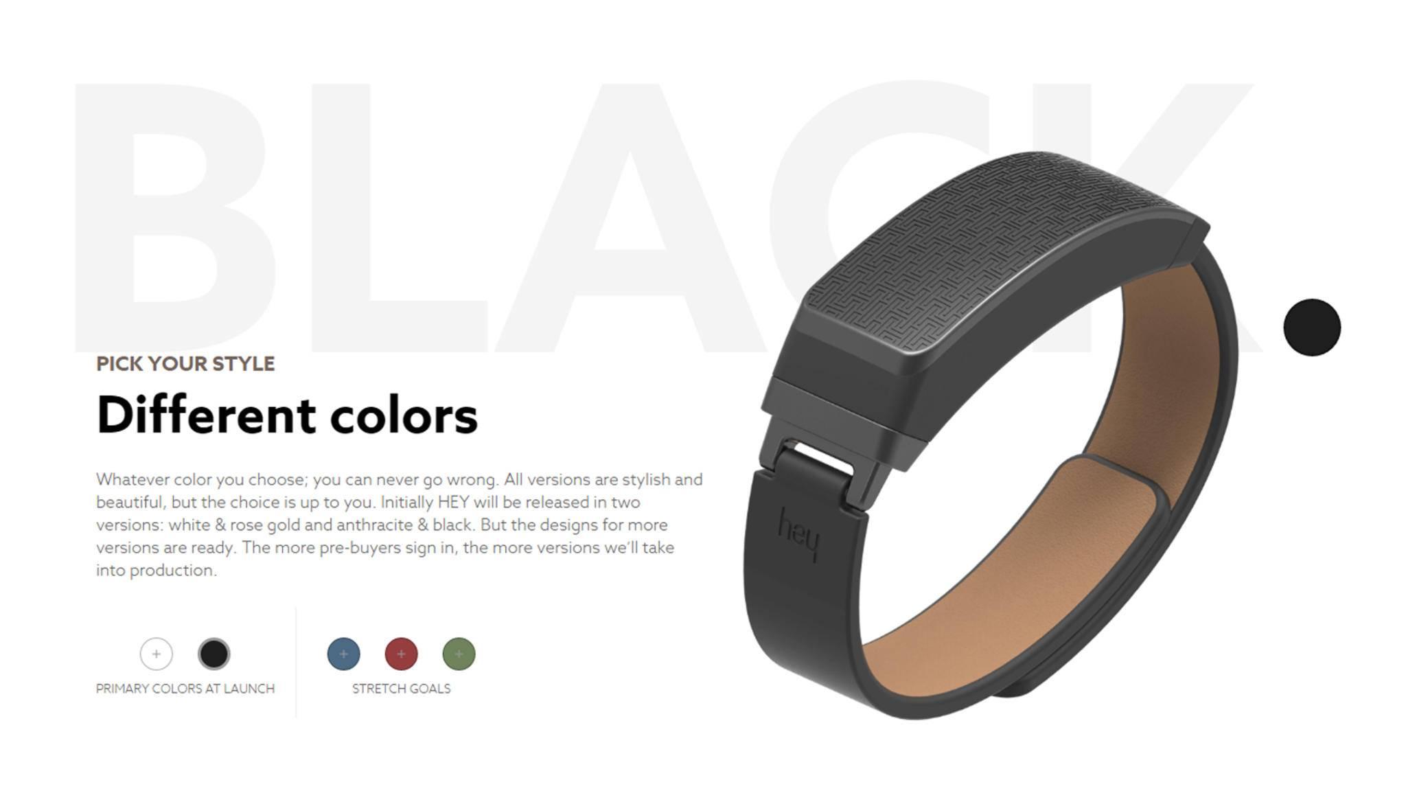 Das HEY-Armband gibt es in verschiedenen Farben. Standard sind Schwarz ...
