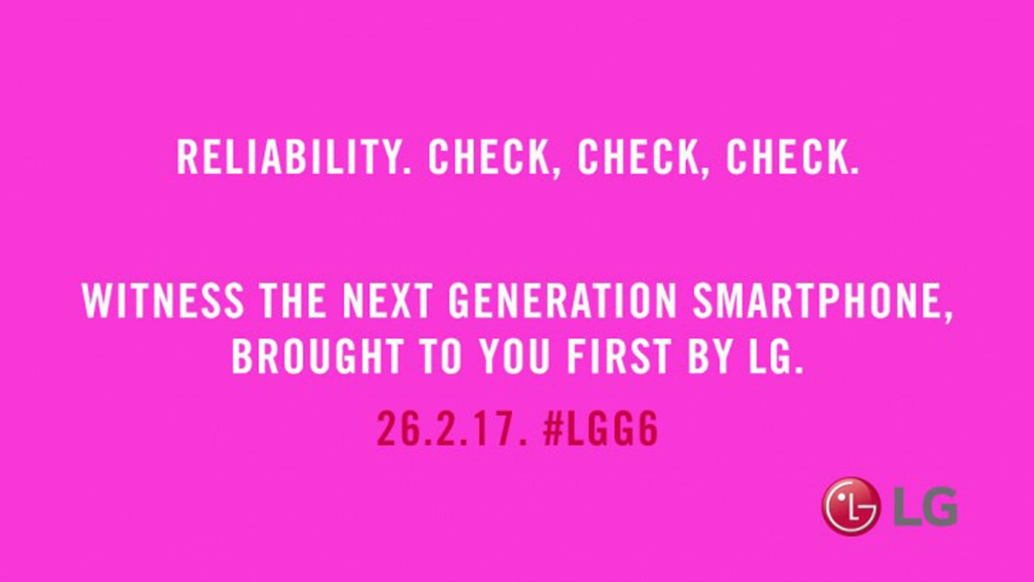 Der LG G6 Teaser in strahlendem Pink.