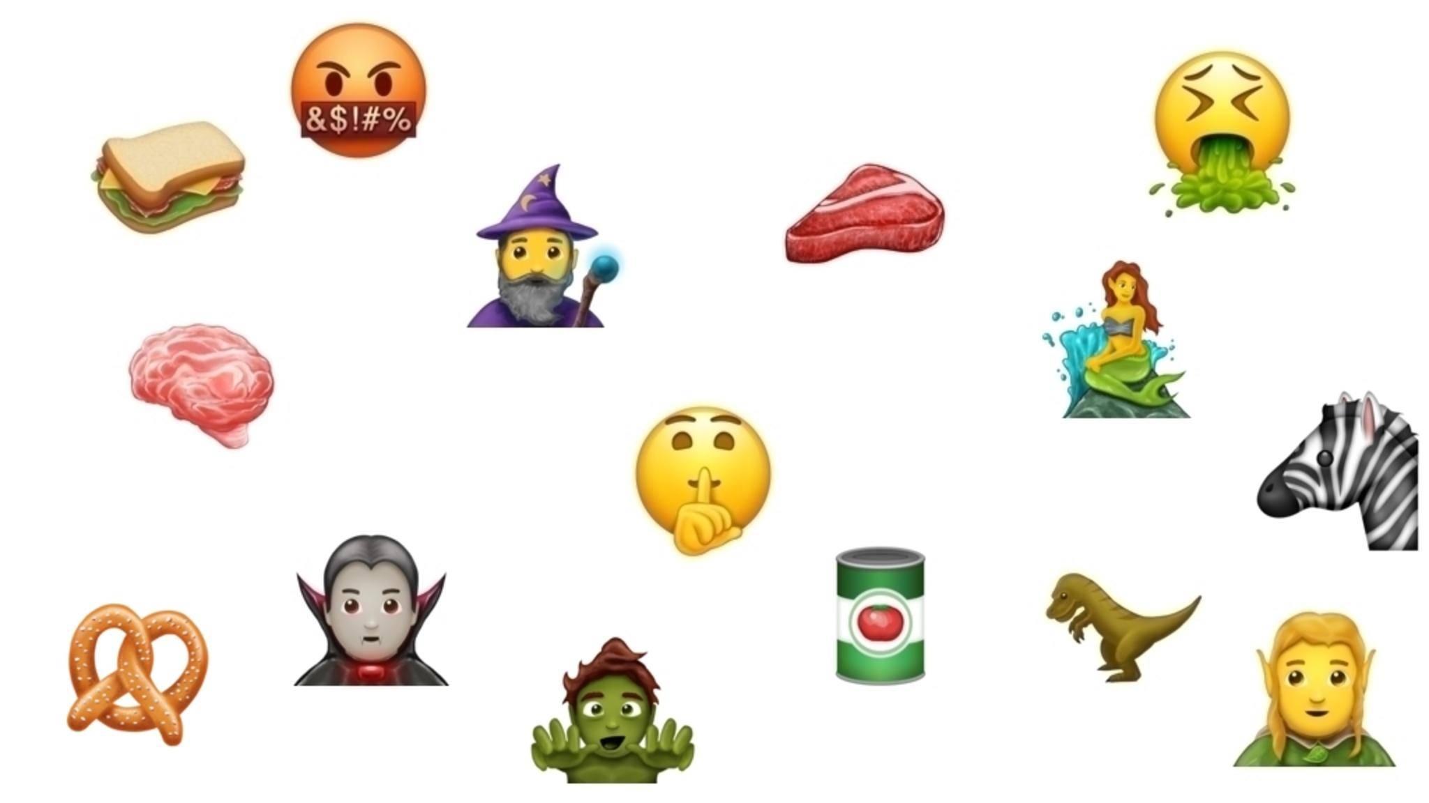 Eine kleine Auswahl der 69 neuen Emojis.