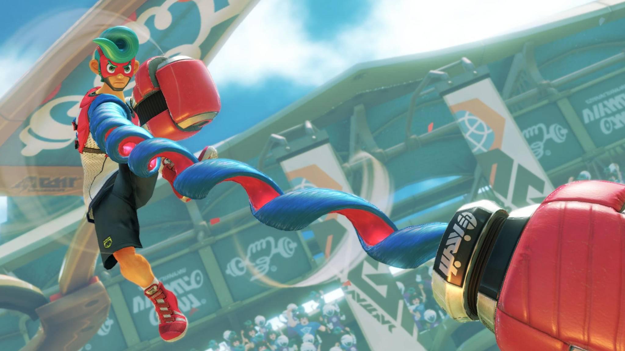 """Der elastische Springman ist einer von zehn Charakteren, mit denen Du Dich in """"Arms"""" in witzige Prügeleien stürzen kannst."""