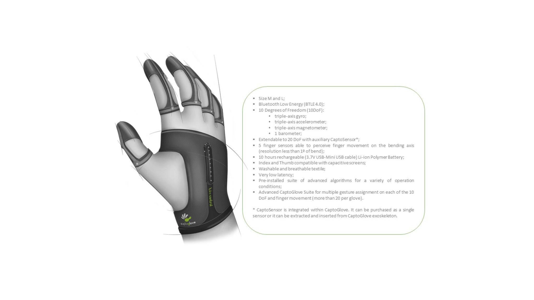 Der Handschuh CaptoGlove ist mit vielen technischen Finessen ausgestattet, die ...