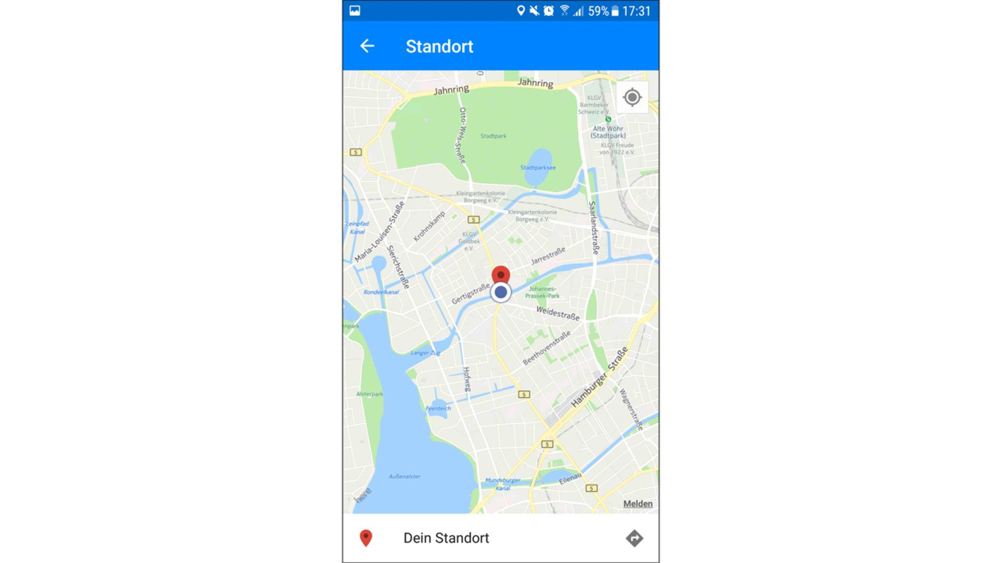 Die Person, an die Du ihn geschickt hast, kann ihn aufrufen und eine Google Maps-Navigation starten.