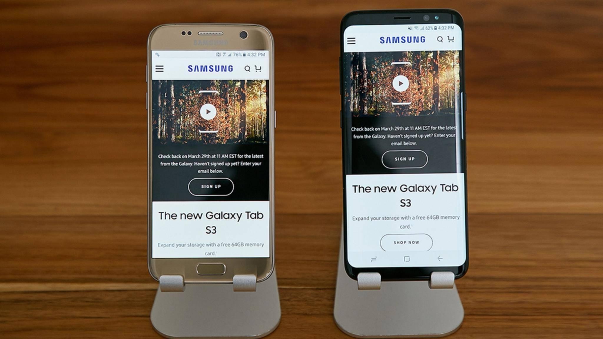 Mehr Screen fürs Smartphone: Das Galaxy S7 (links) und das neue Galaxy S8.
