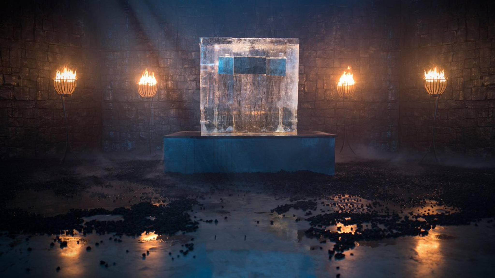 """Diesem Eisblock schauten zahlreiche Menschen beim Schmelzen zu – nur, um zu erfahren, wann es mit """"Game of Thrones"""" weitergeht."""