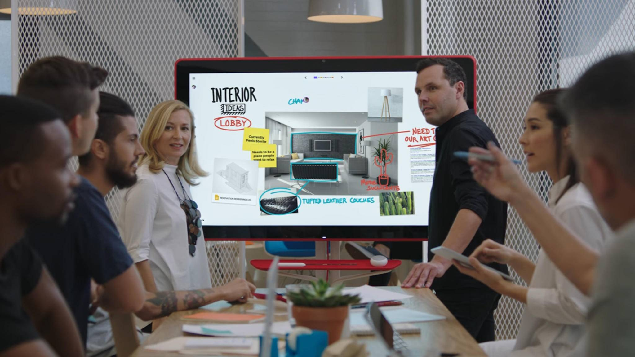 Das 55 Zoll große Google Jamboard soll mit Microsofts Surface Hub konkurrieren.